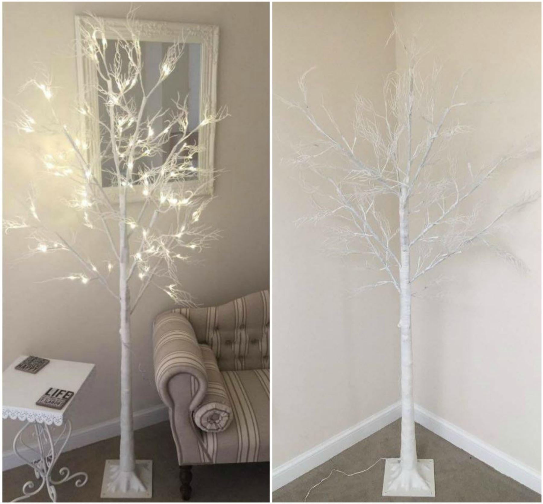 6ft Christmas Twig Tree Pre Lit 120 LED Warm White Lights Indoor ...