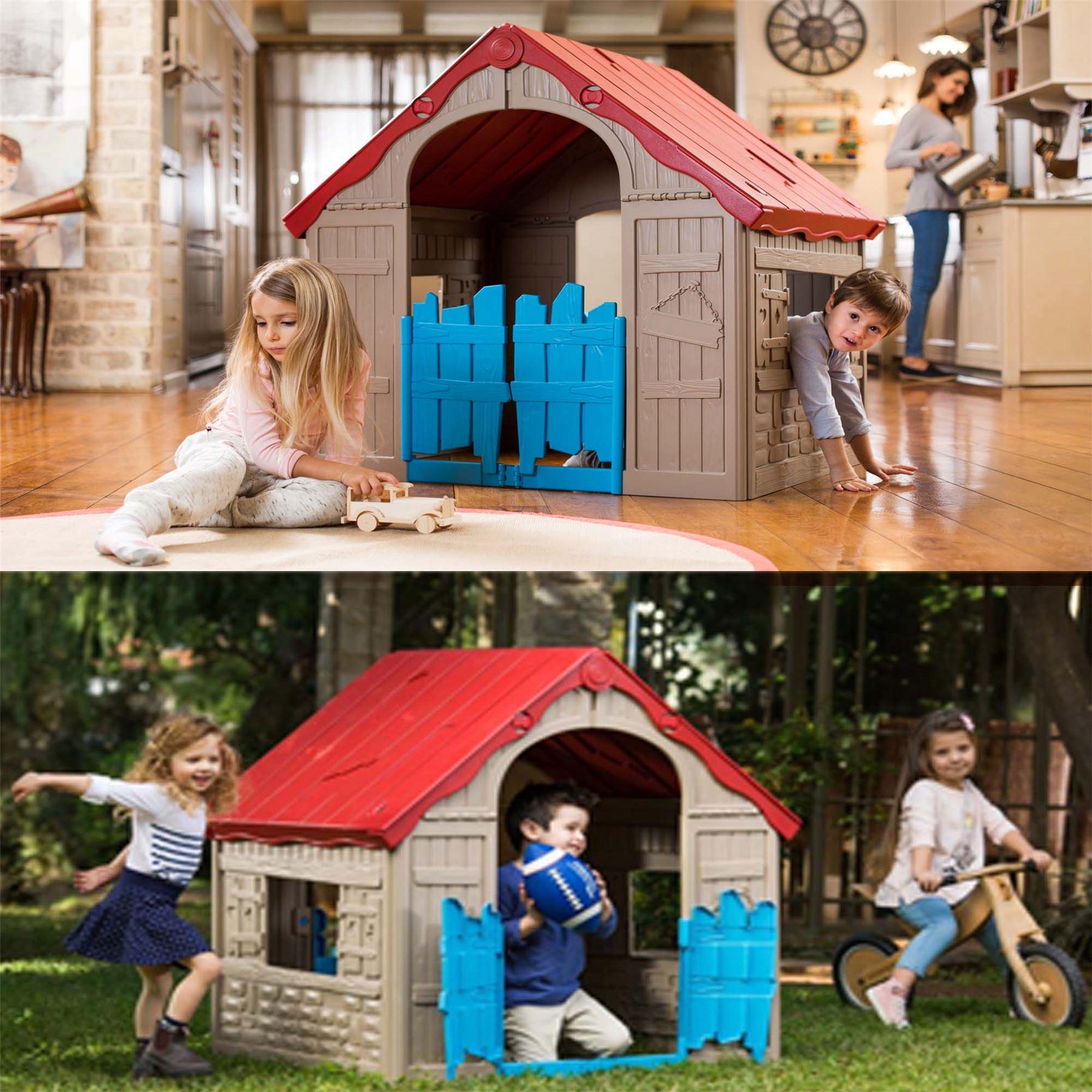 Keter garden outdoor indoor kids folding playhouse for Children indoor