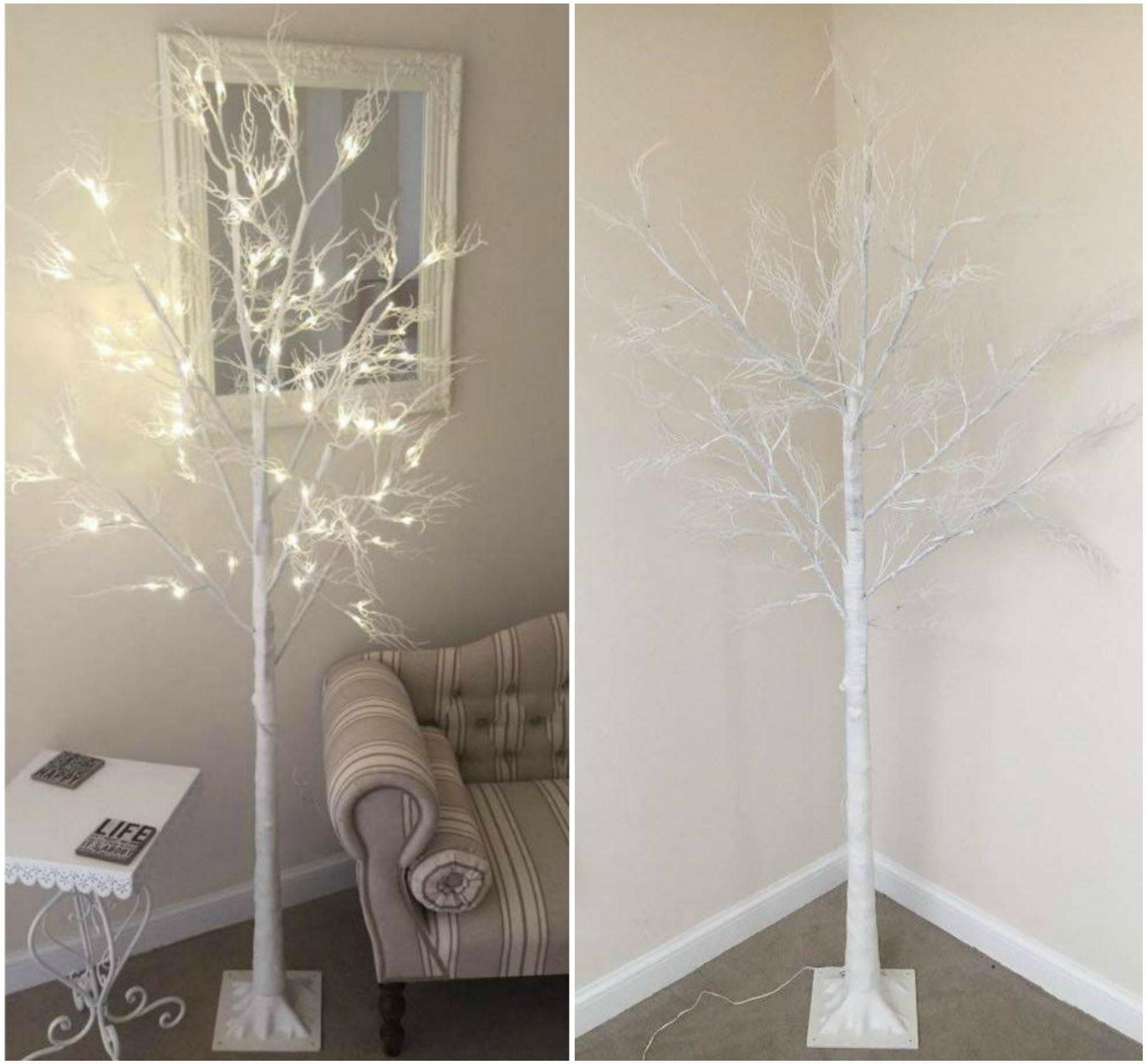 7ft Christmas Twig Tree Pre Lit 120 LED Warm White Lights ...