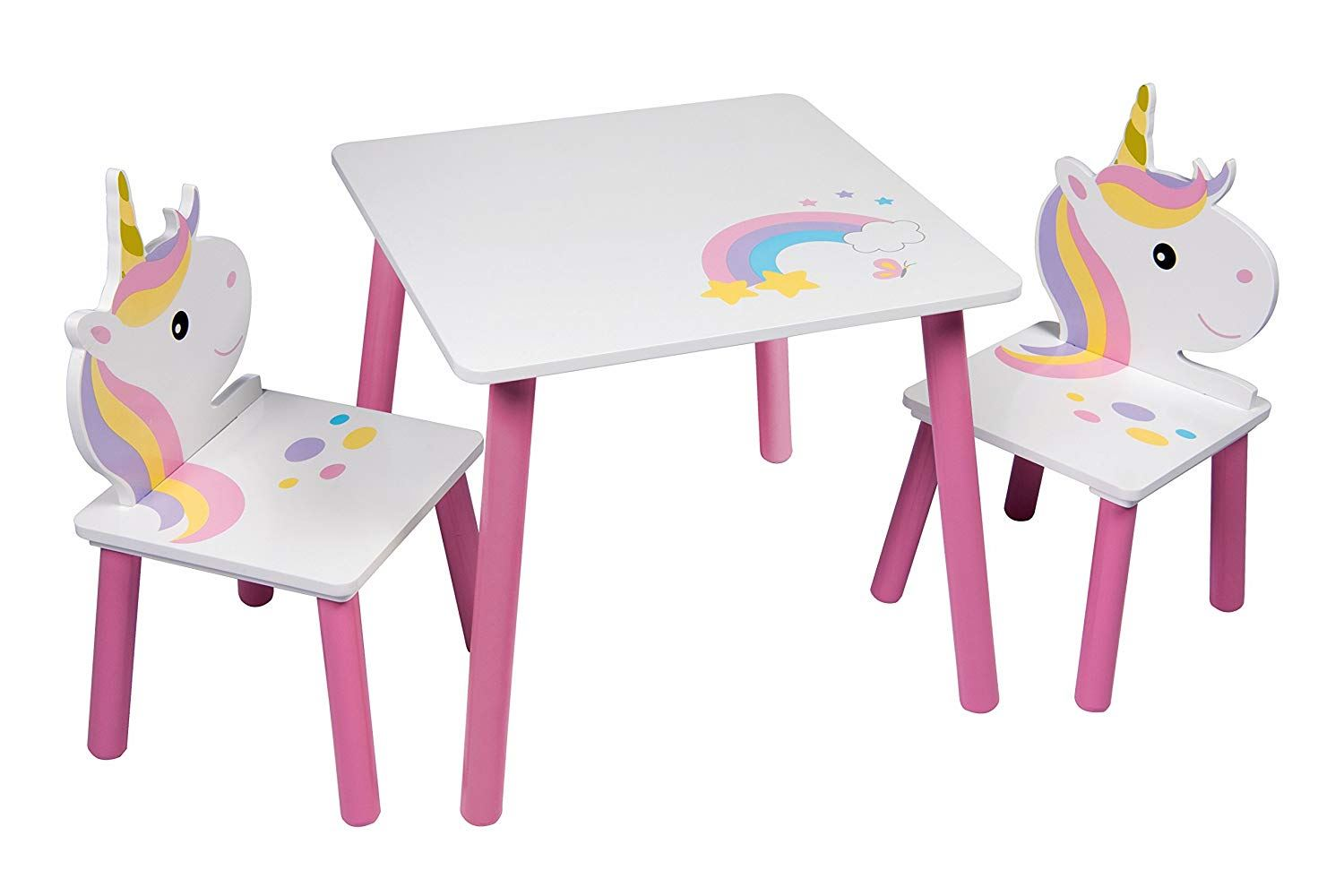 Details about unicorn table chairs set pink wooden kids toddlers nursery playroom furniture