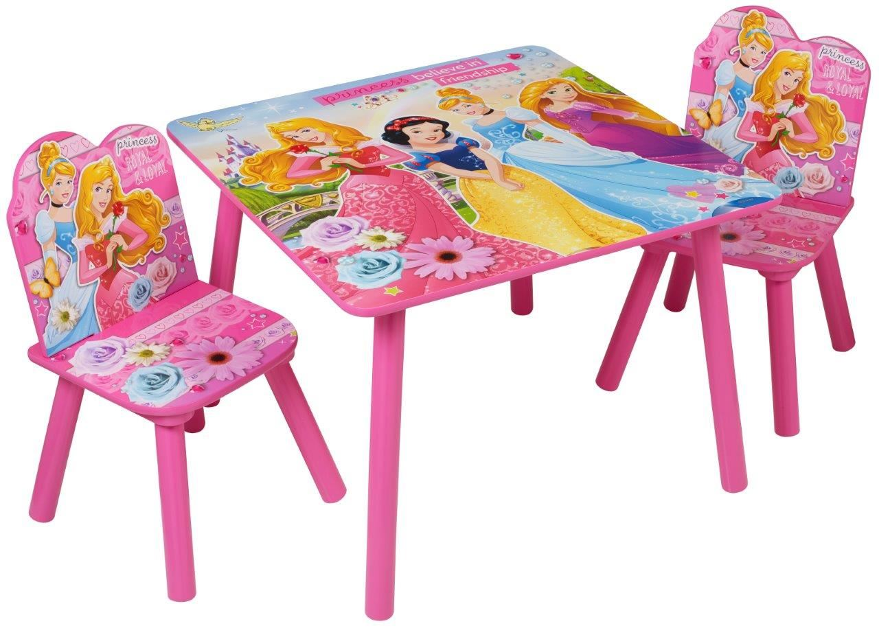 Disney Princess Childrens Wooden Table Two Chairs Wood Set Kids Bedroom Playroom Ebay
