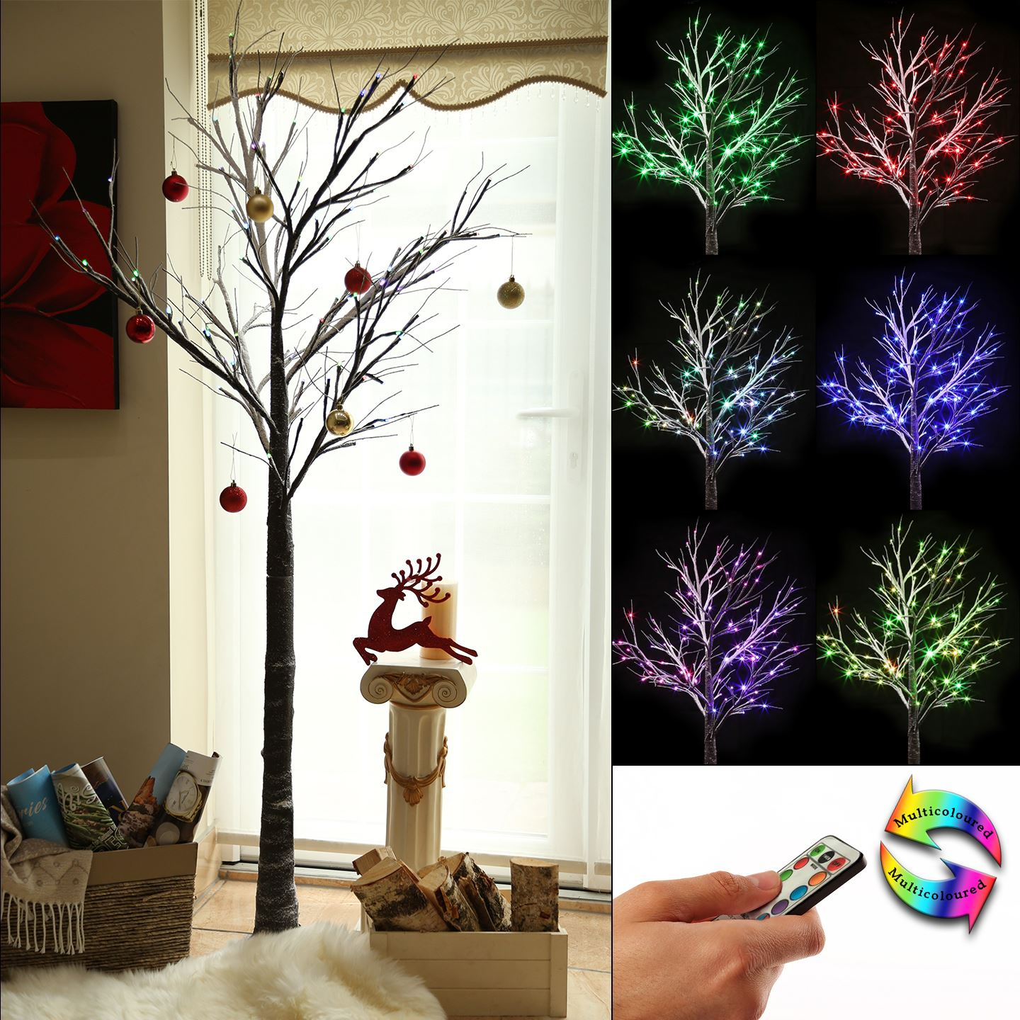 Pre Lit Christmas Twig Tree: 6ft Brown Colour Changing Christmas Twig Tree Pre Lit LED