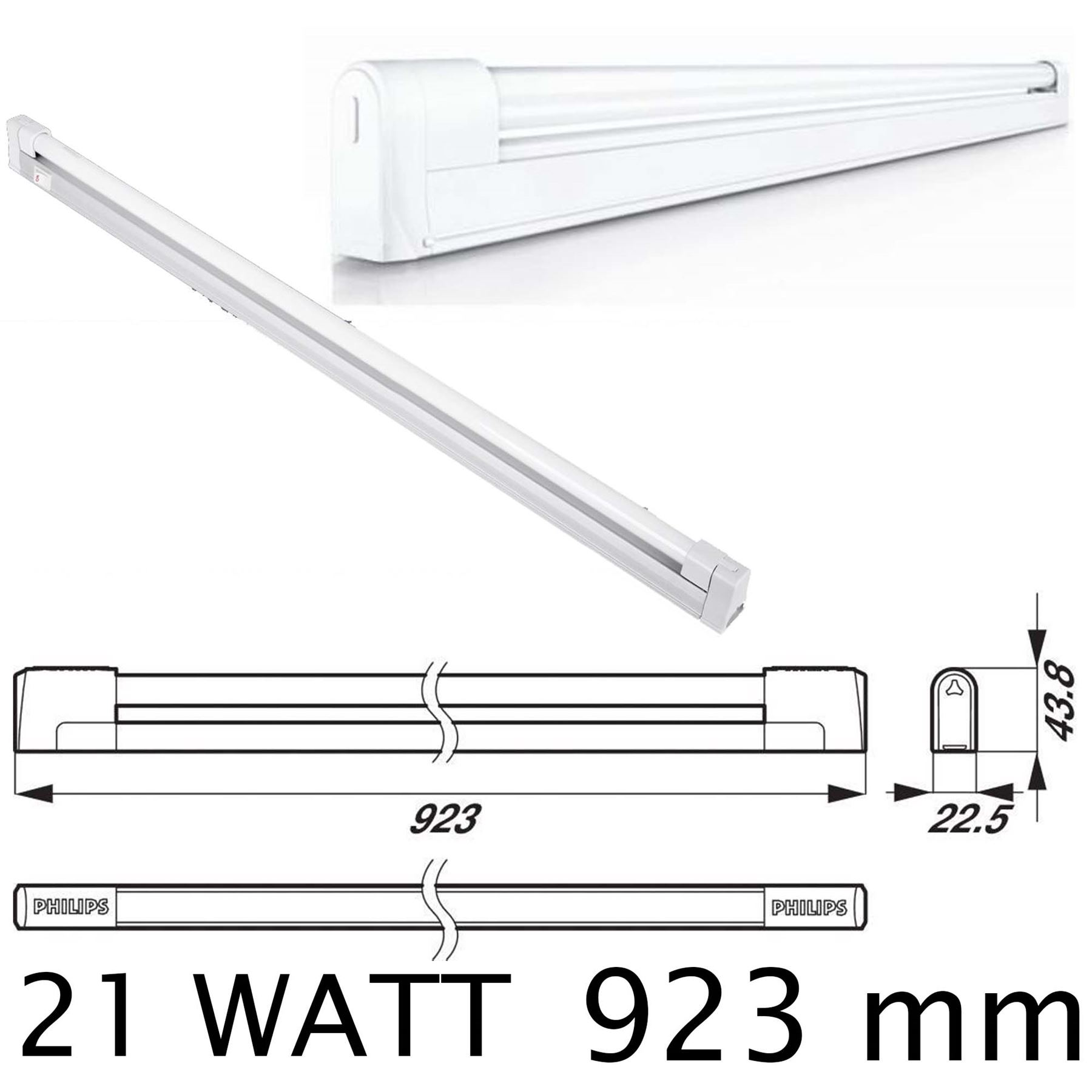 Linkable T5 Fluorescent Batten For Use Under Kitchen Cabinets: 21W T5 Philips Fluorescent Linkable Under Kitchen Cupboard