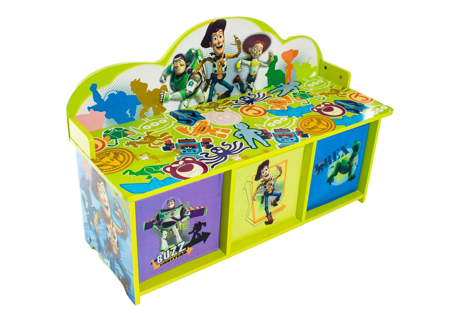 Toy Story Bench with 3 Bins Childrens Toy Storage Kids Bedroom