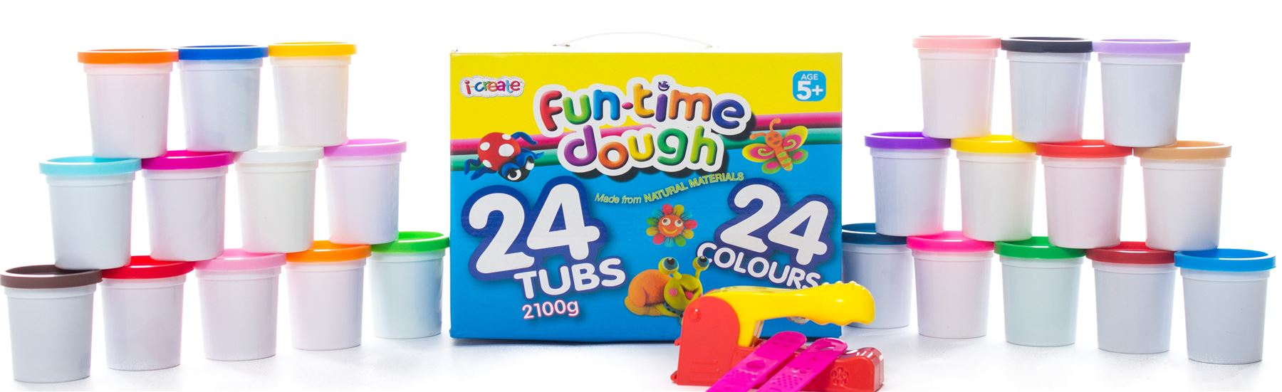 24 Pack Childrens Kids Play Dough Tubs Toy Craft Set Modelling Doh + ...