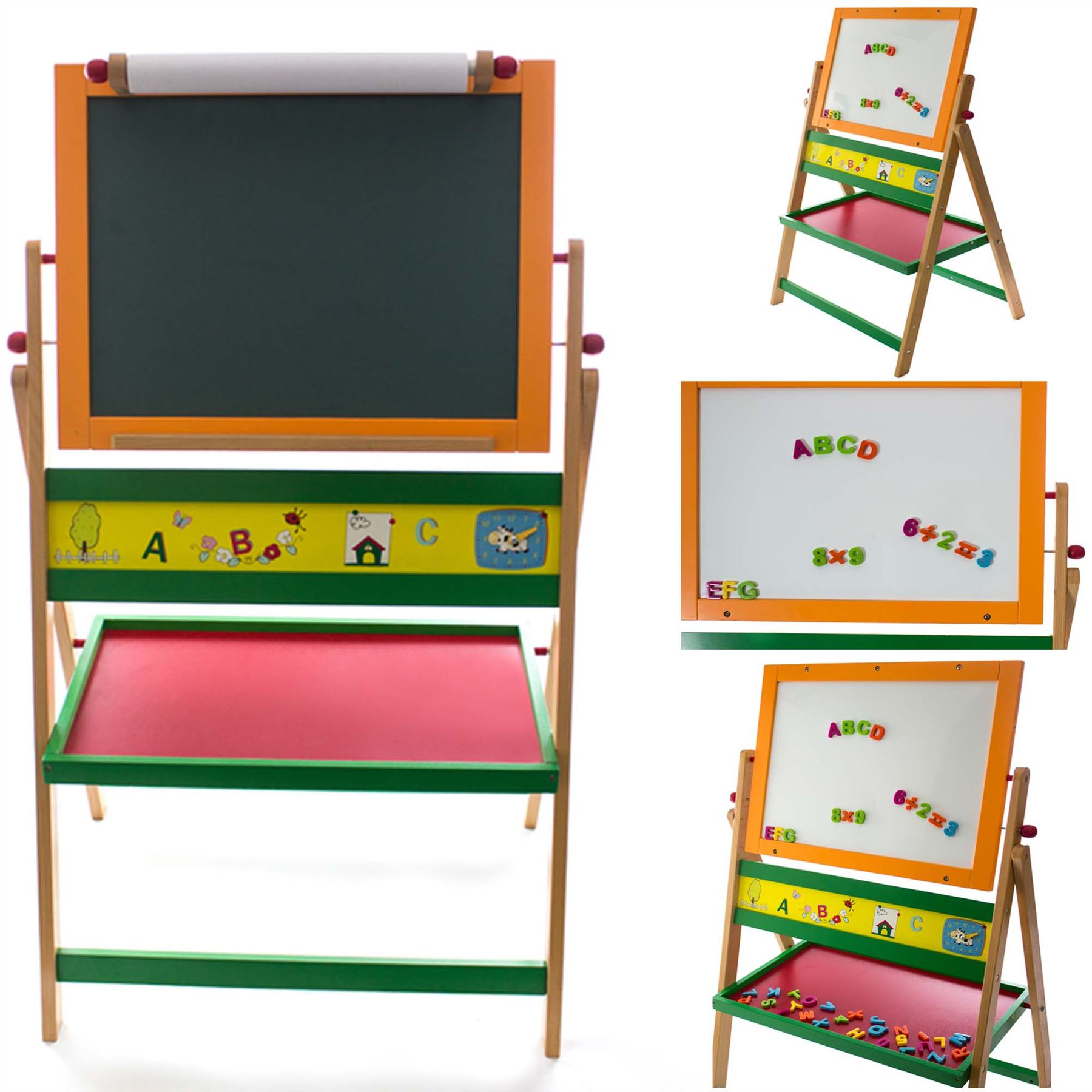 kids art double sided magnetic 2 in 1 easel chalk white black drawing board toy 4534256737466 ebay. Black Bedroom Furniture Sets. Home Design Ideas