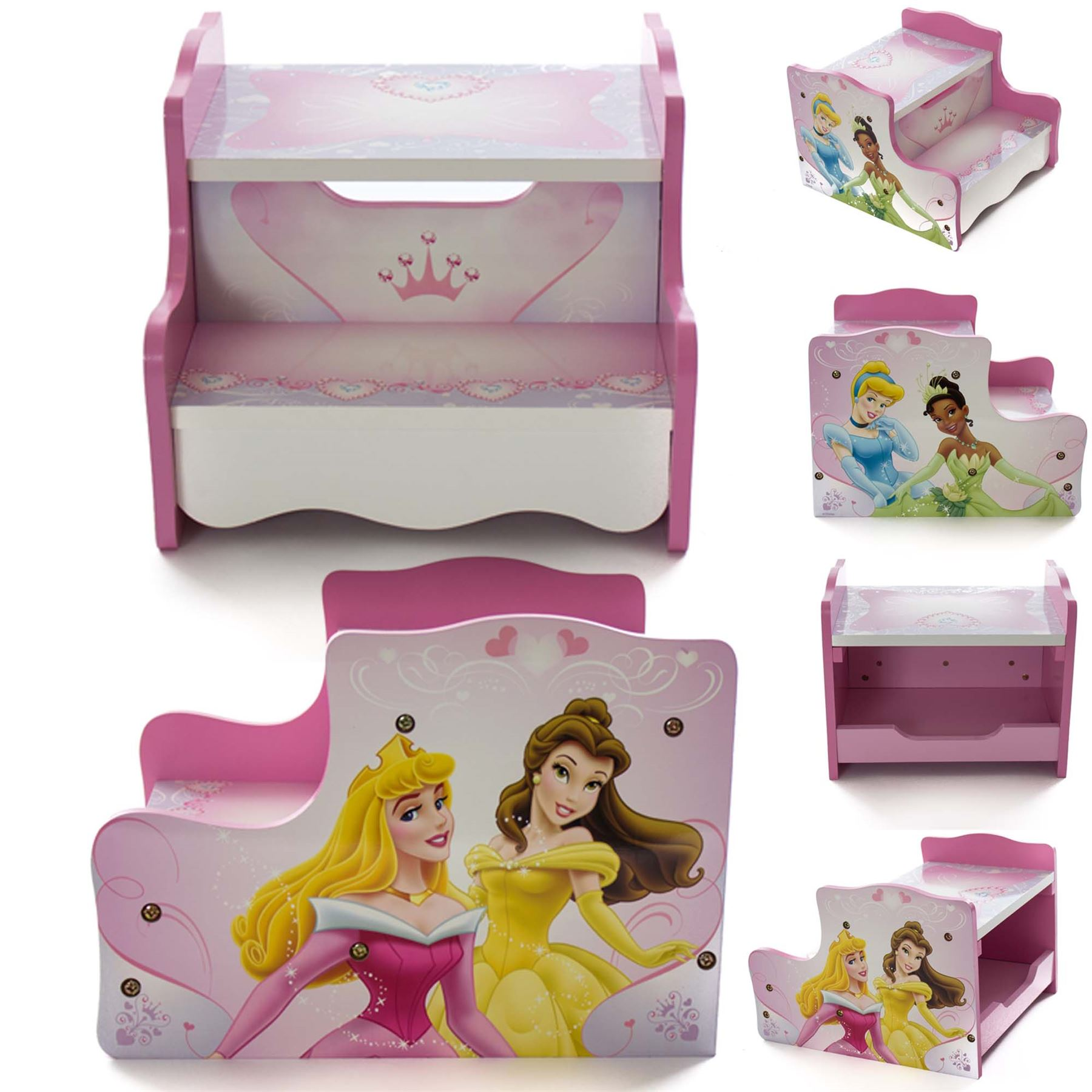 Image Is Loading Disney Princess Childrens Girls Step Kids Wooden Storage