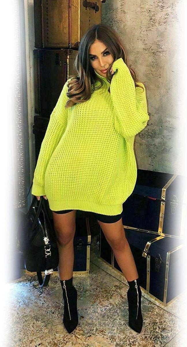 Womens-High-Polo-Roll-Neck-Chunky-Knitted-Fluorescent-Tunic-Neon-Jumper-Dress thumbnail 7