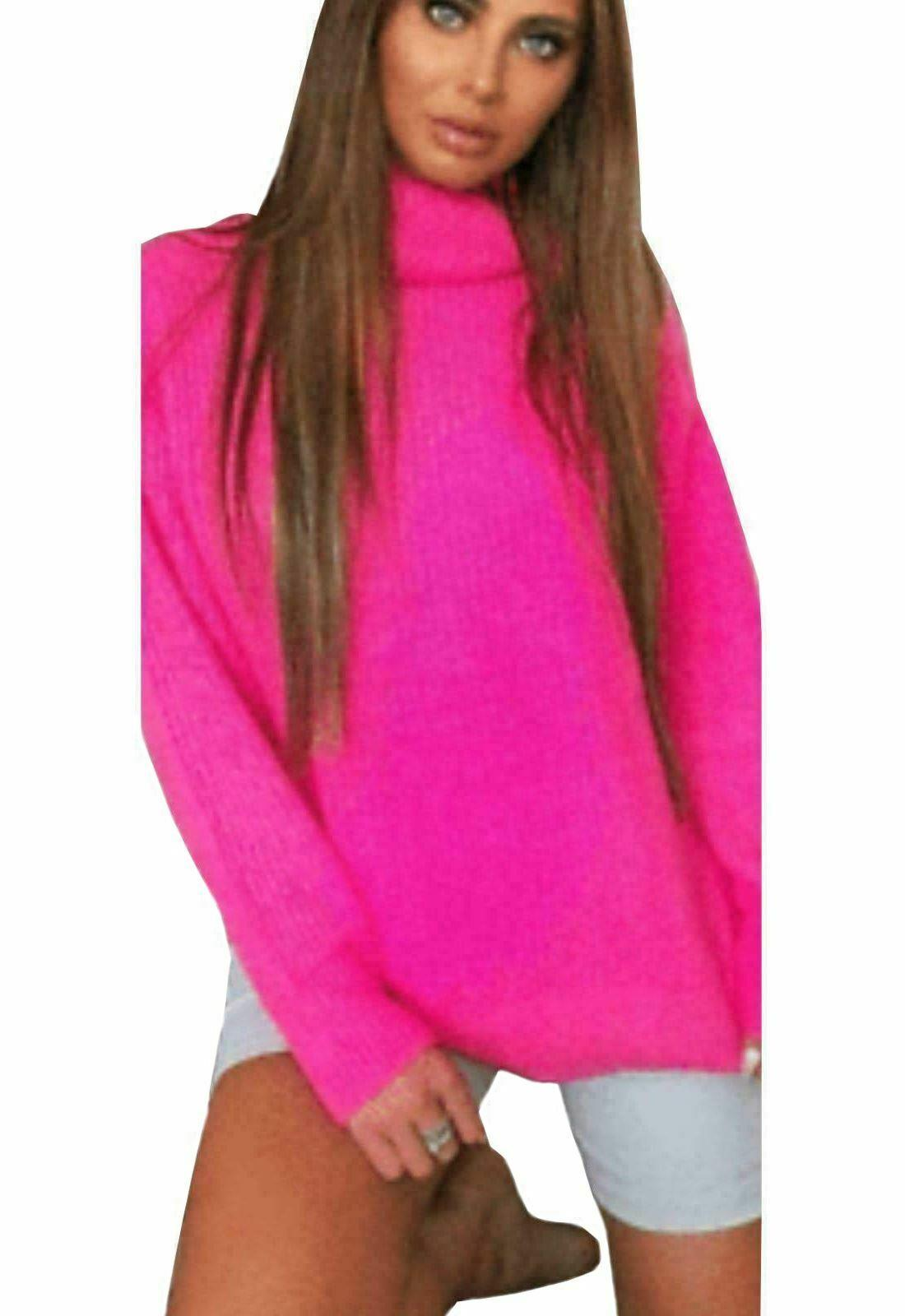 Womens-High-Polo-Roll-Neck-Chunky-Knitted-Fluorescent-Tunic-Neon-Jumper-Dress thumbnail 17
