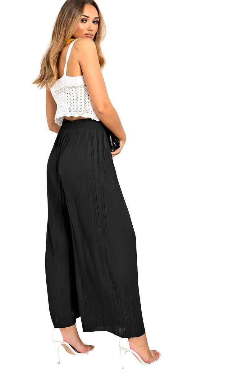 Womens Pleated Culottes Trousers Loose Wide Leg Palazzo Ladies Elastic Pants