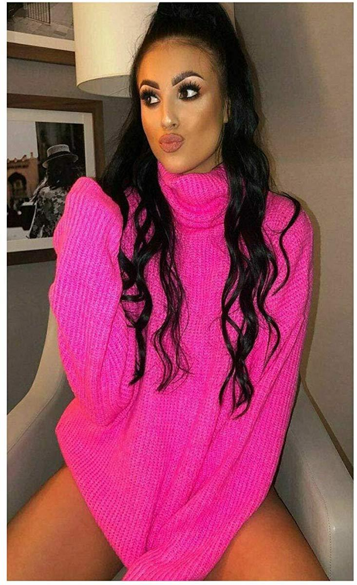 Womens-High-Polo-Roll-Neck-Chunky-Knitted-Fluorescent-Tunic-Neon-Jumper-Dress thumbnail 15