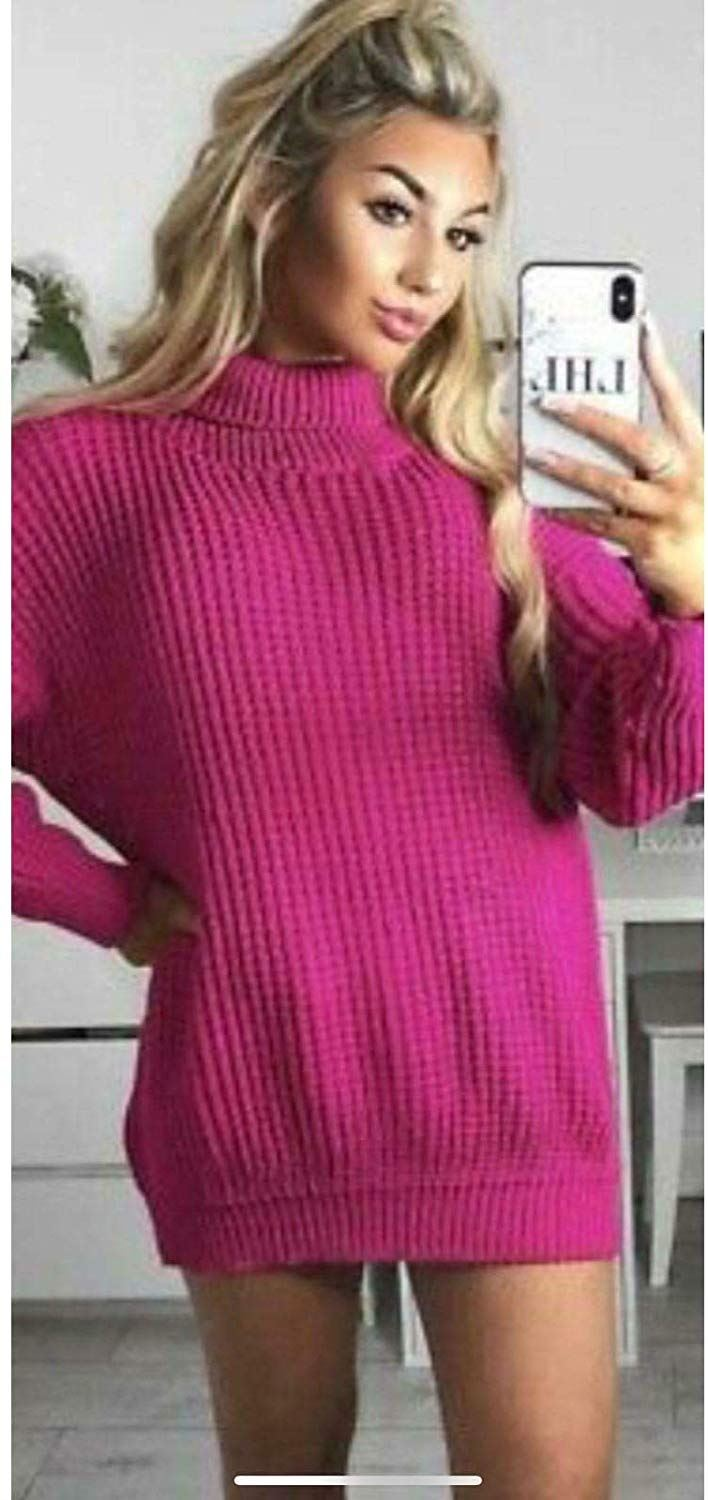 Womens-High-Polo-Roll-Neck-Chunky-Knitted-Fluorescent-Tunic-Neon-Jumper-Dress thumbnail 18