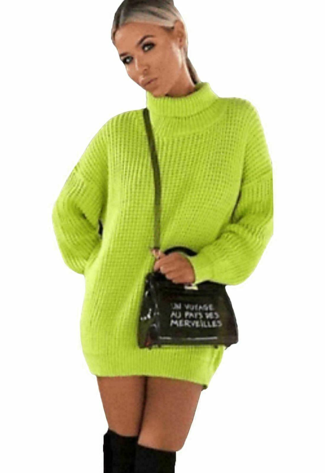Womens-High-Polo-Roll-Neck-Chunky-Knitted-Fluorescent-Tunic-Neon-Jumper-Dress thumbnail 8
