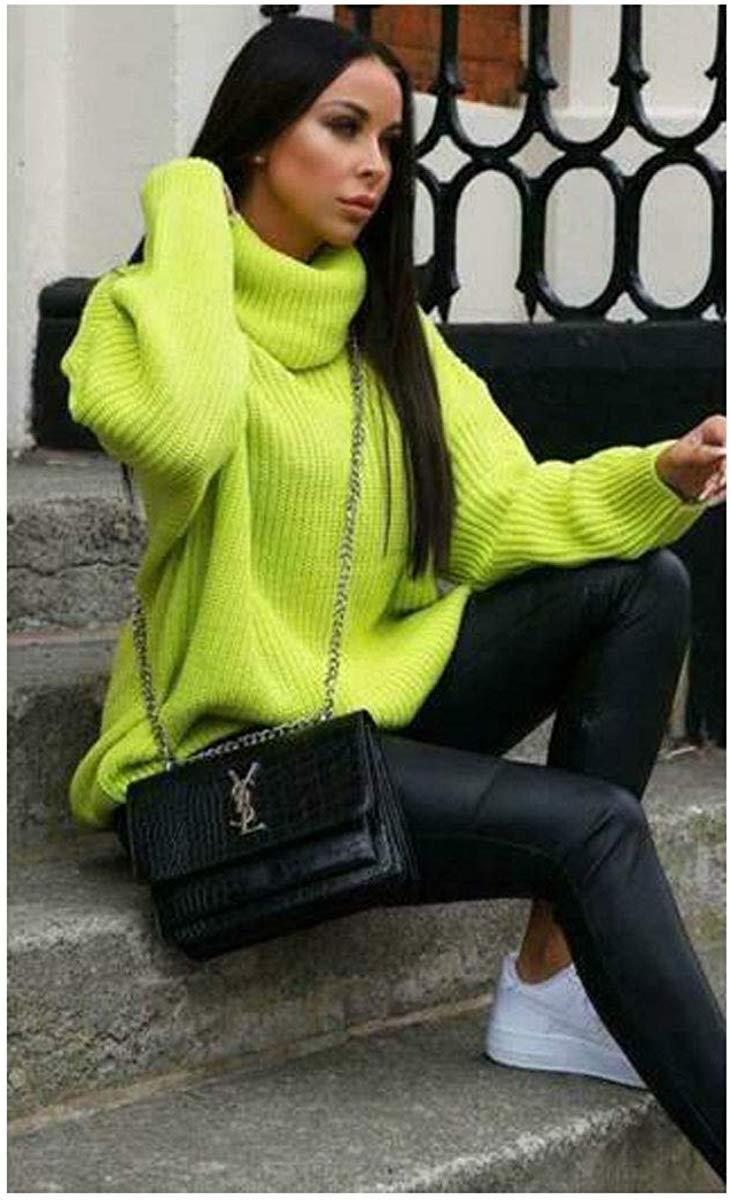 Womens-High-Polo-Roll-Neck-Chunky-Knitted-Fluorescent-Tunic-Neon-Jumper-Dress thumbnail 6