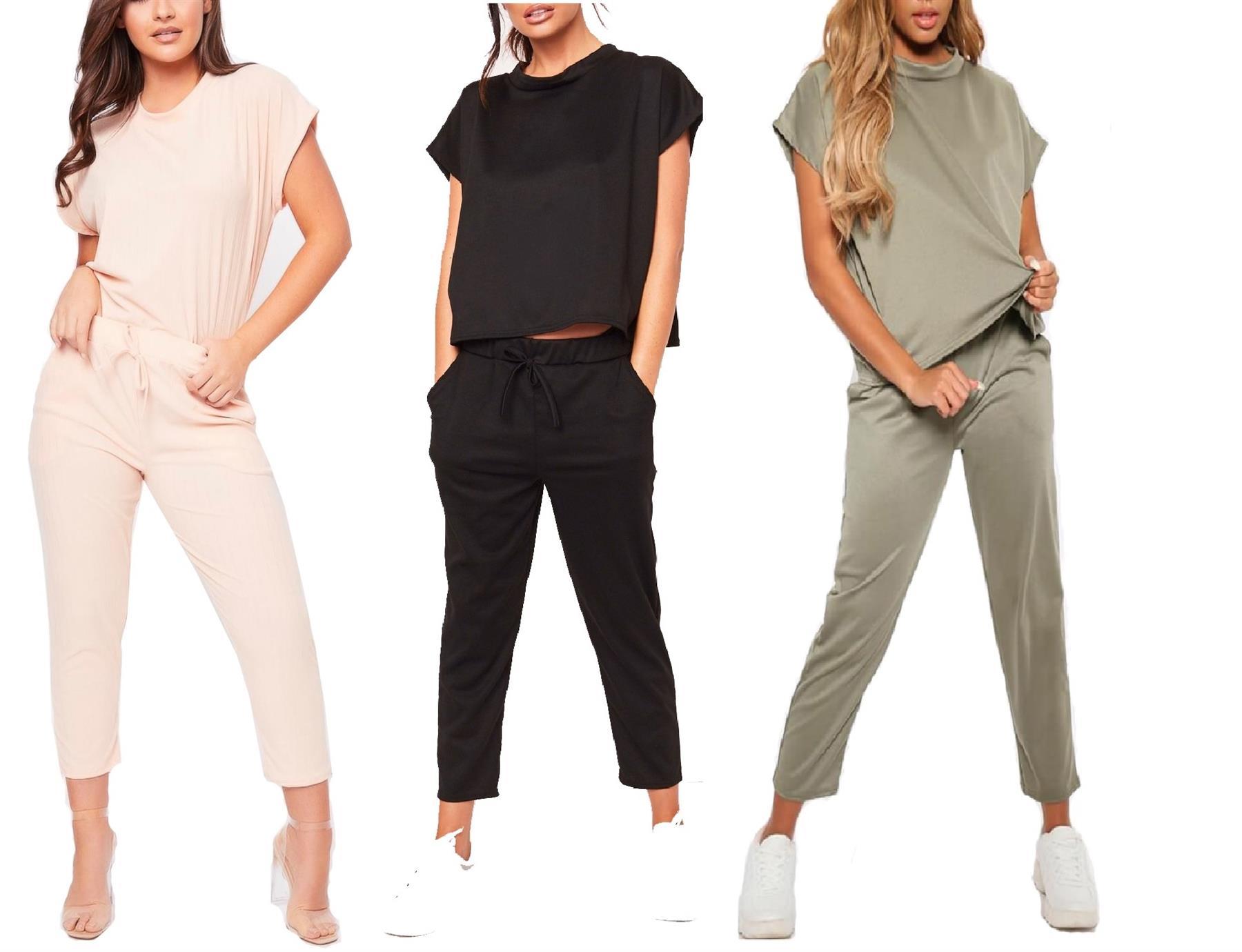 Womens Spring Summer 2Pcs Tracksuit Top Pants Set Jogging Sport Lounge Wear Suit