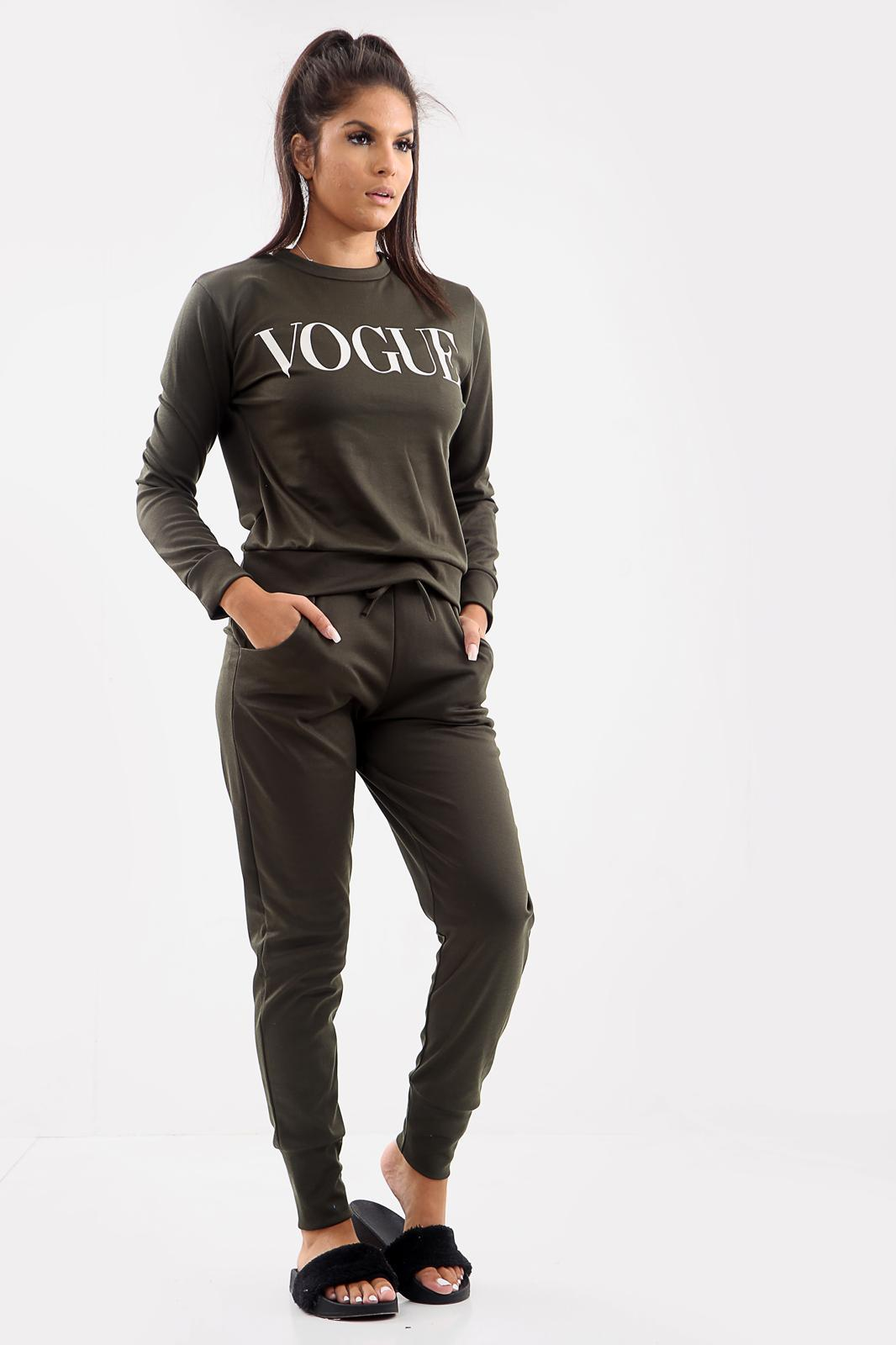 UK Women Vogue Print 2 Piece Co-Ord Lounge wear Tracksuit Ladies Long