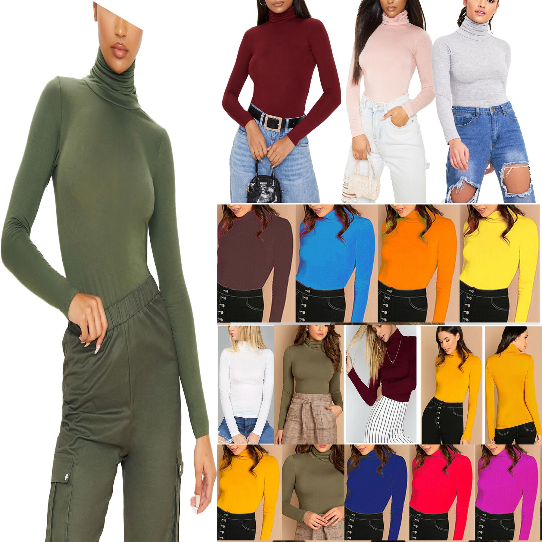 NEW LADIES POLO NECK TOP STRETCH LONG SLEEVE TURTLE NECK TOP JUMPER UK 8-26