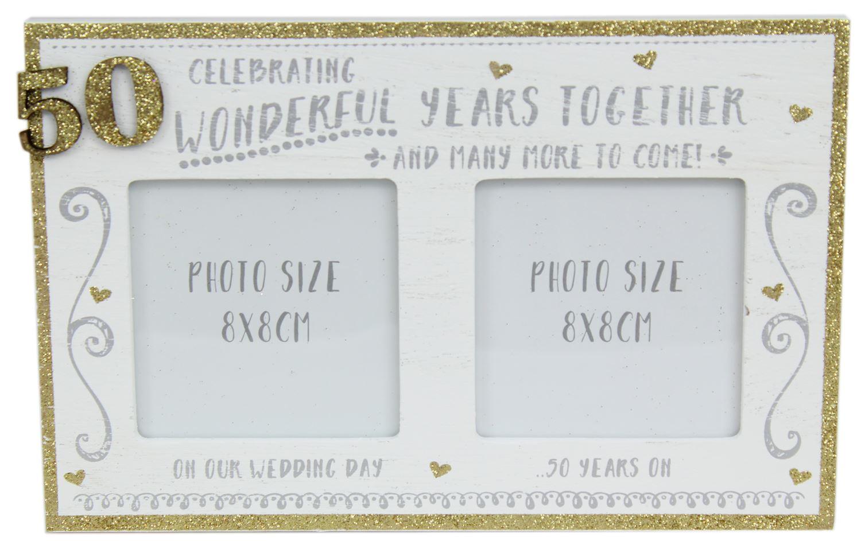 White Wooden Freestanding Golden Glitter 50TH Wedding Anniversary ...