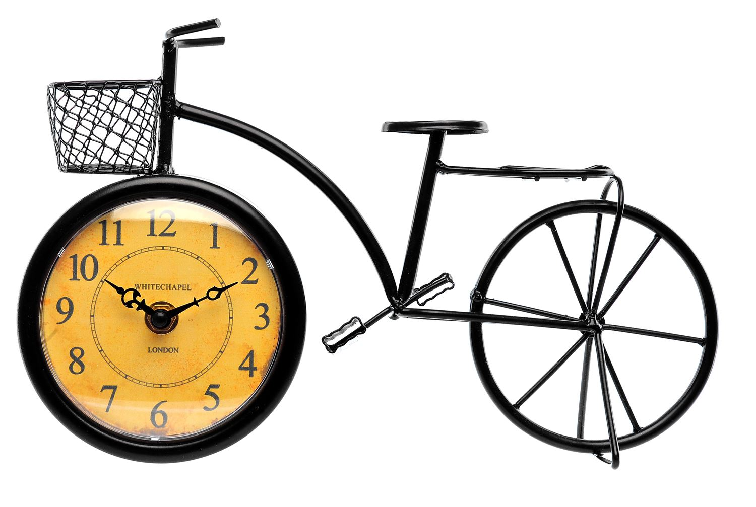 stylish bicycle clock with an antiqued effect clock face a lovely decorative item that will enhance the look of a desk or shelf