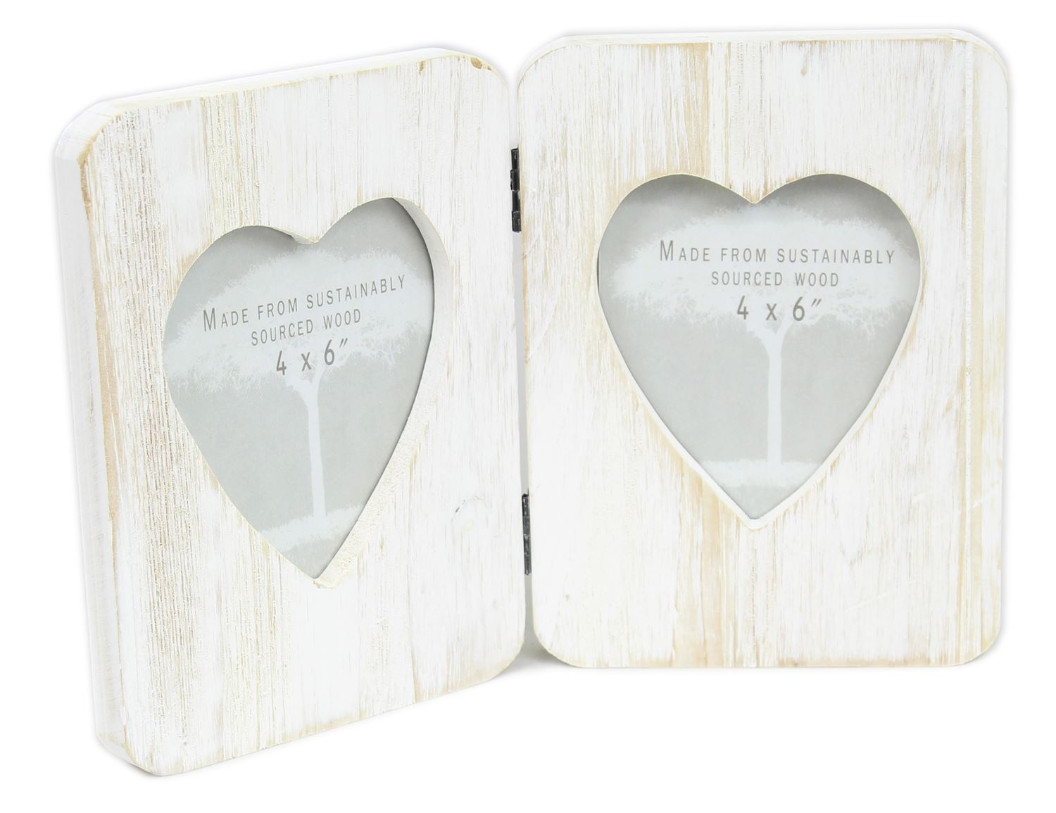 Shabby Chic Freestanding Lime Washed Hinged Double Heart Photo Frame ...