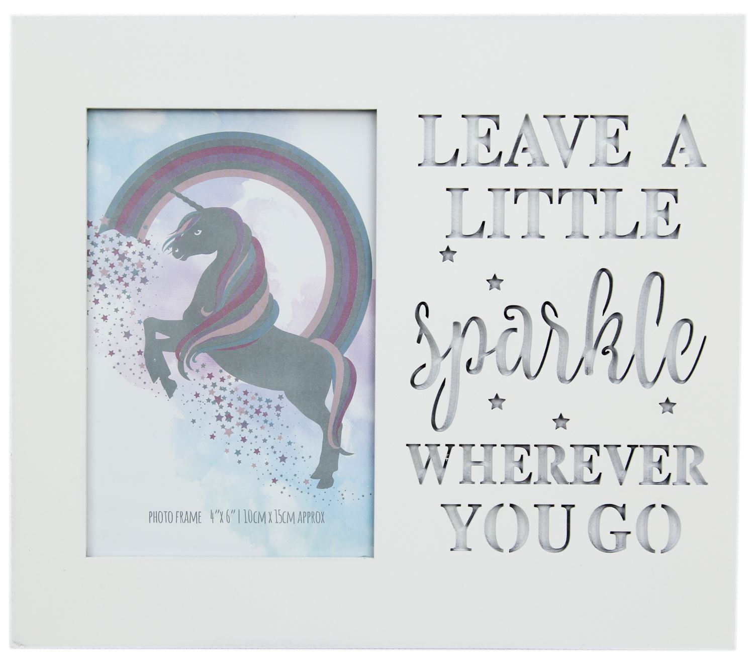 White Wood Unicorn Picture Photo Frame With Cut Out Words 4 X 6 ...