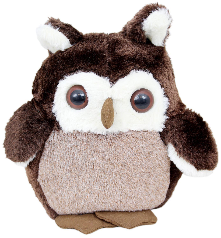 Soft Plush Owl Doorstop ~ Brown Fabric Door Stop