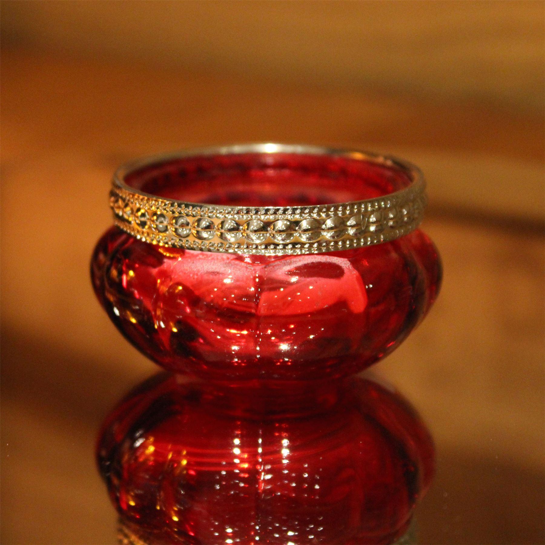 Bright Verre Coloré Côtelé Photophore Bougeoir Pot-Rouge