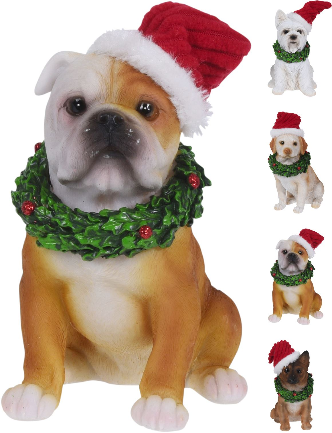 Christmas Dog Figurine Statue Ornament Xmas Santa Animal Decoration Ebay