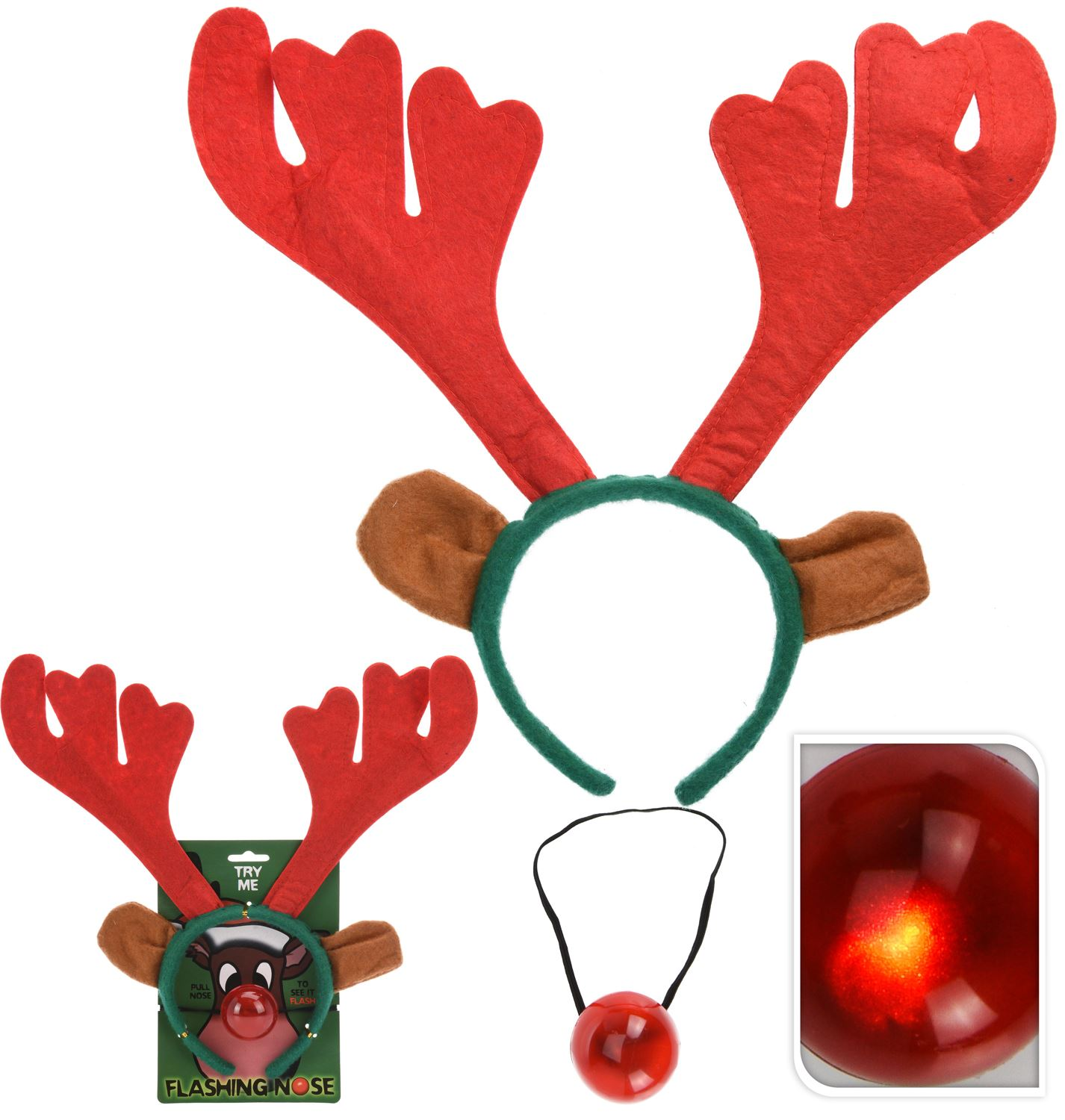 Rudolph Reindeer Antlers Headband With Flashing Nose Festive Party Christmas Set 8718158958082 Ebay