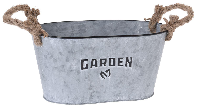 Silver Washed Oval Garden Zinc Bucket Planter Windowsill Herb Box ...