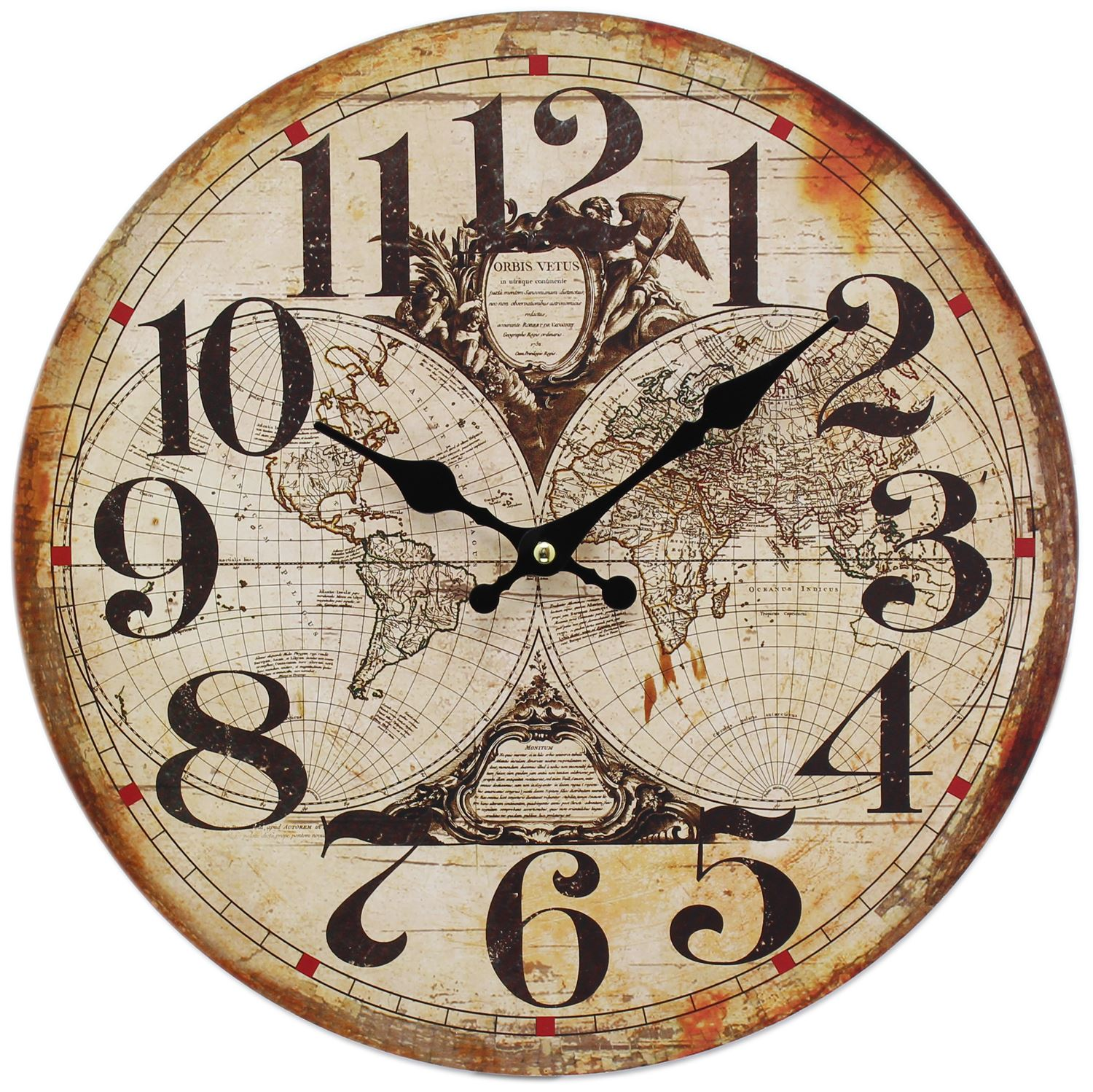 Wooden nautical hanging wall clock 34cm old world clock this wonderful nautical clock featuring a world map design would make a lovely addition to any home great for kitchens breakfast rooms bathrooms or gumiabroncs Images