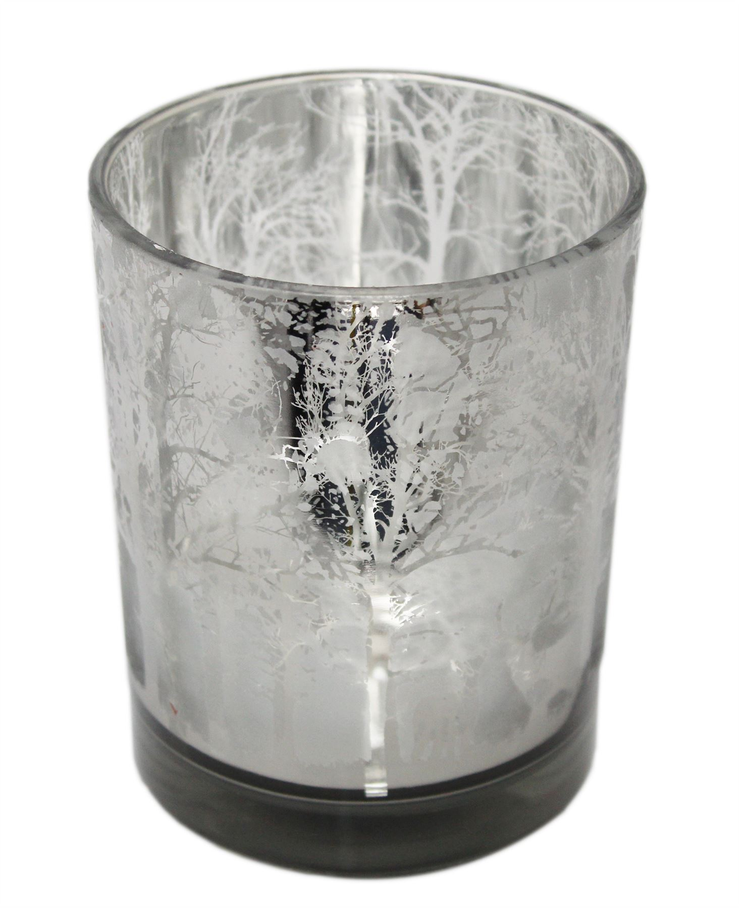 Christmas Silhouette Silver Glass Tealight Candle Holder Design Varies Ebay