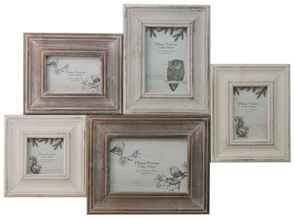 Shabby Chic Woodland Multi Photo Frame ~ Wooden Collage Picture ...