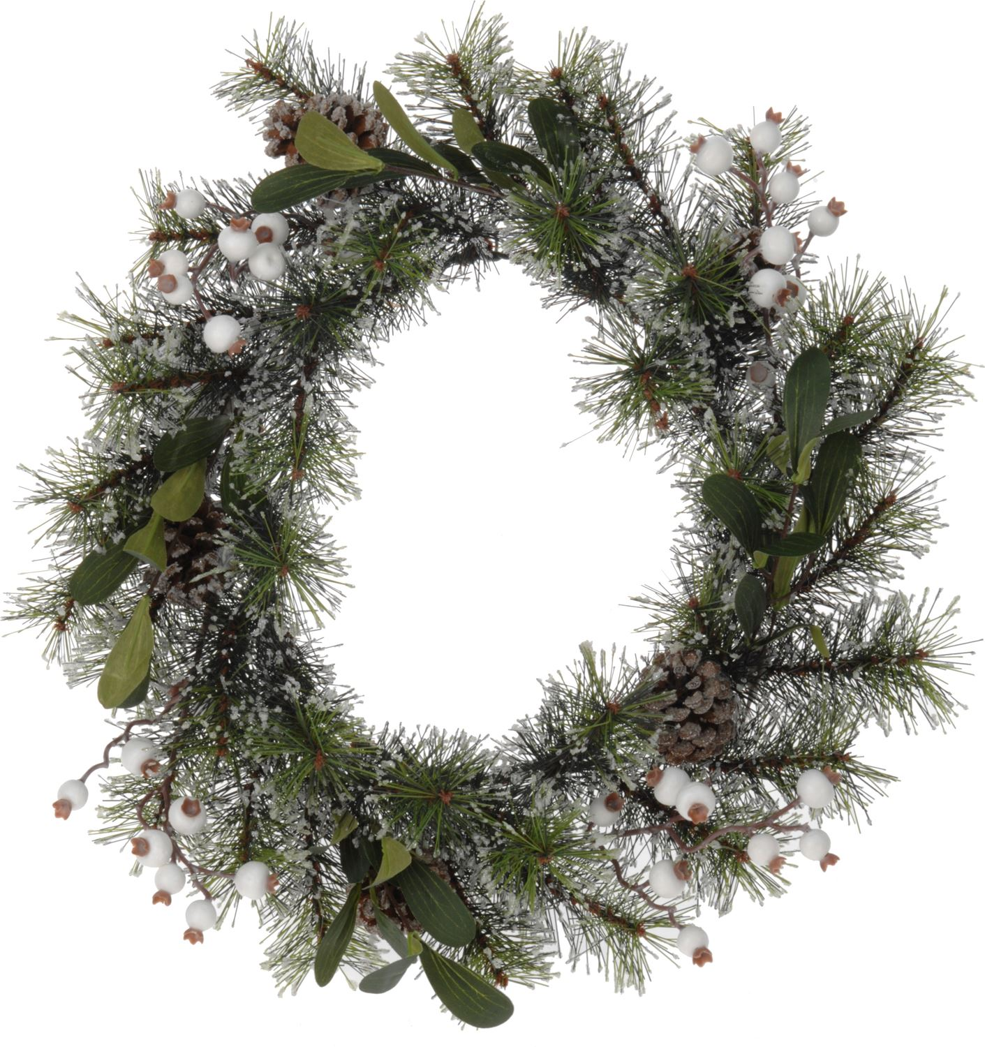 Large christmas wreath frosted pine cone and mistletoe for Large christmas pine cones