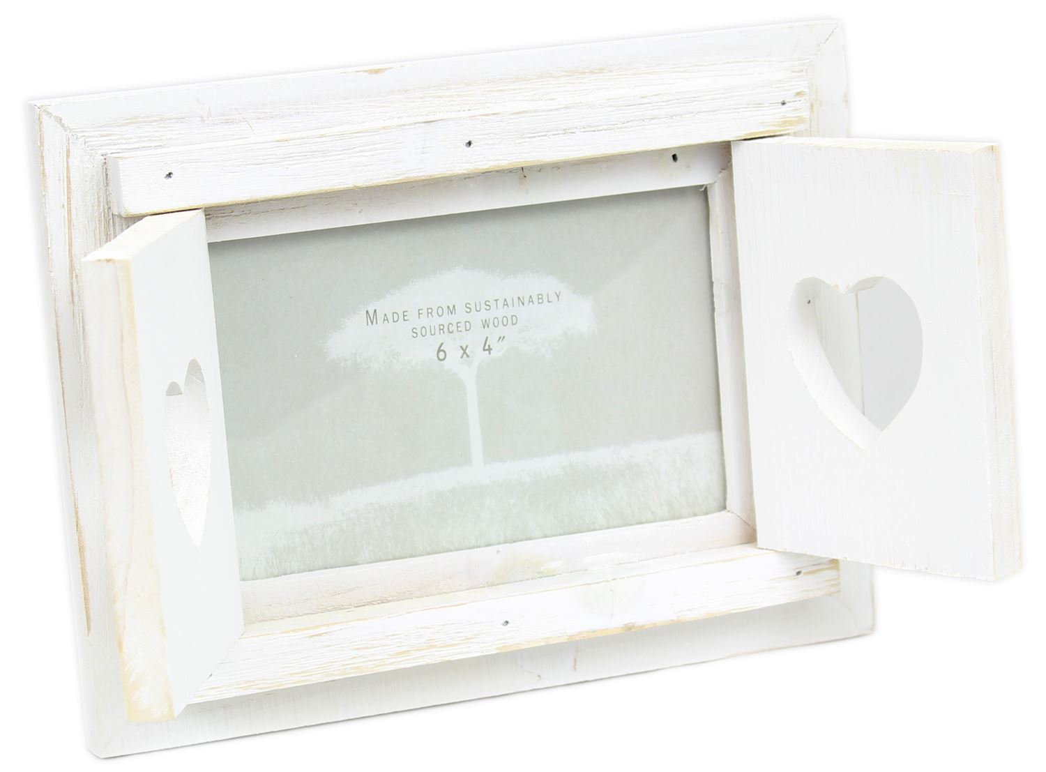 Shabby Chic White Washed Shutter Window Double Heart Photo Frame 6 x ...