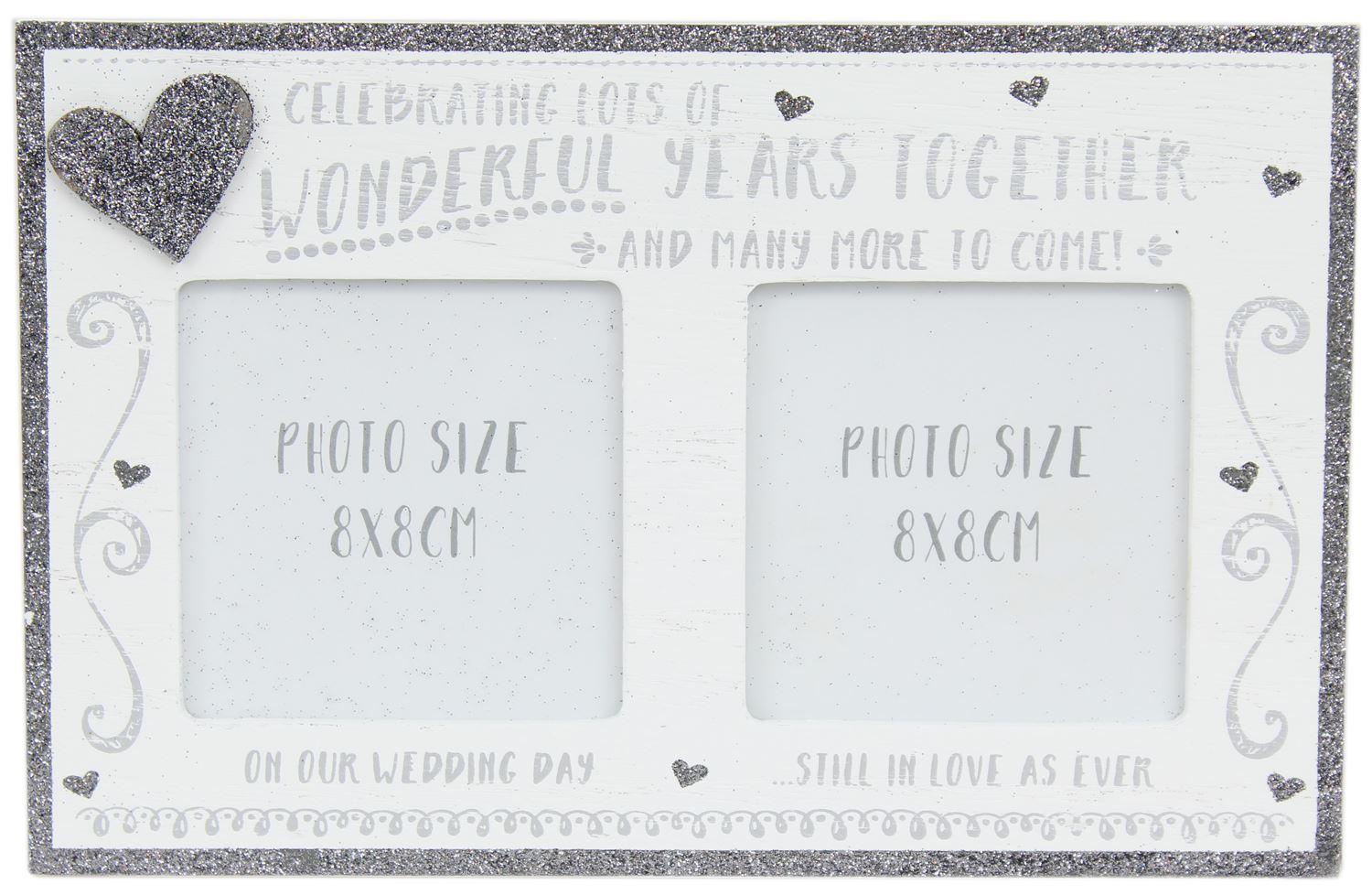 White Wooden Freestanding Silver Glitter Wedding Anniversary Photo ...