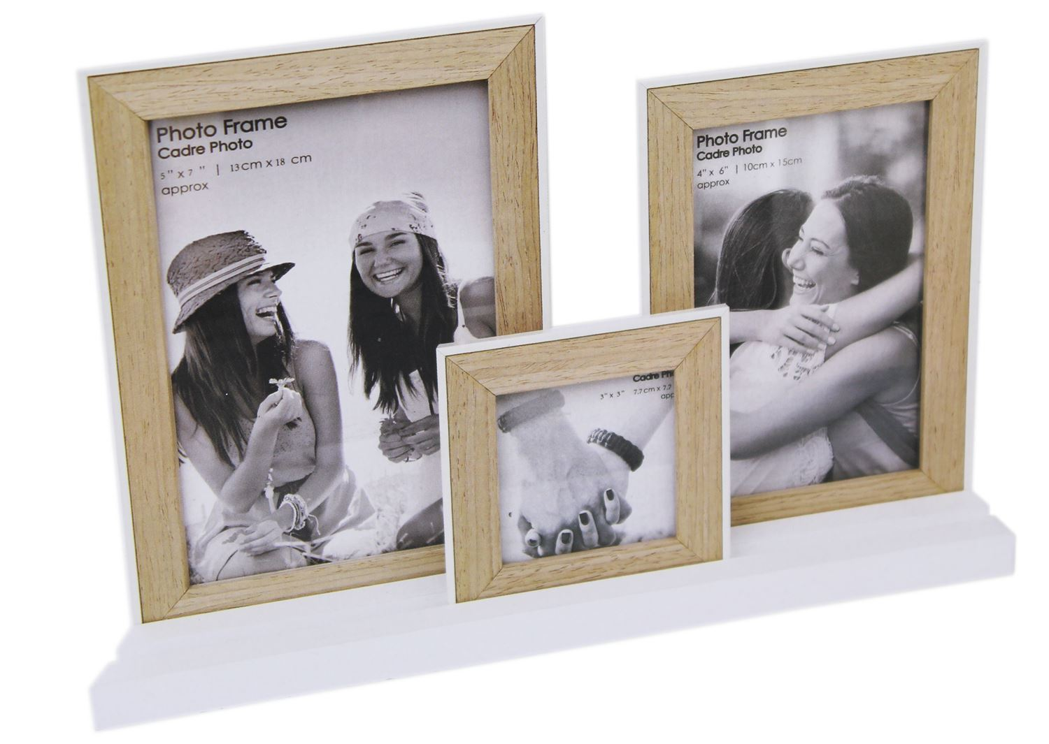 Set Of 3 Wooden Picture Photo Frames On White Tray Base ...