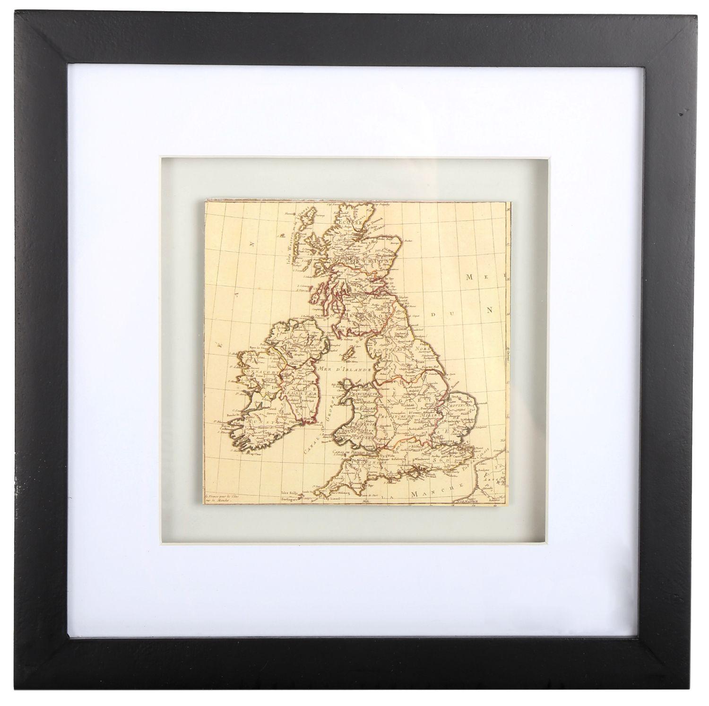 Black Wooden Box Frame ~ British Isles Uk Map Wall Art 5023313433704 ...