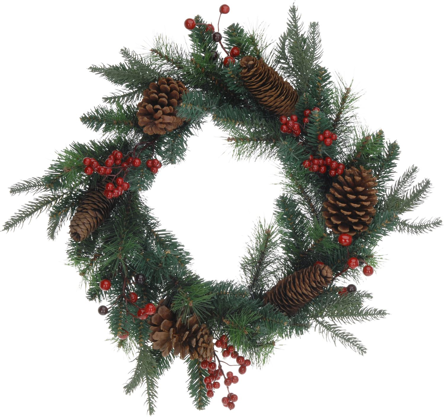 Large traditional christmas wreath pine cone and berry for Large christmas pine cones