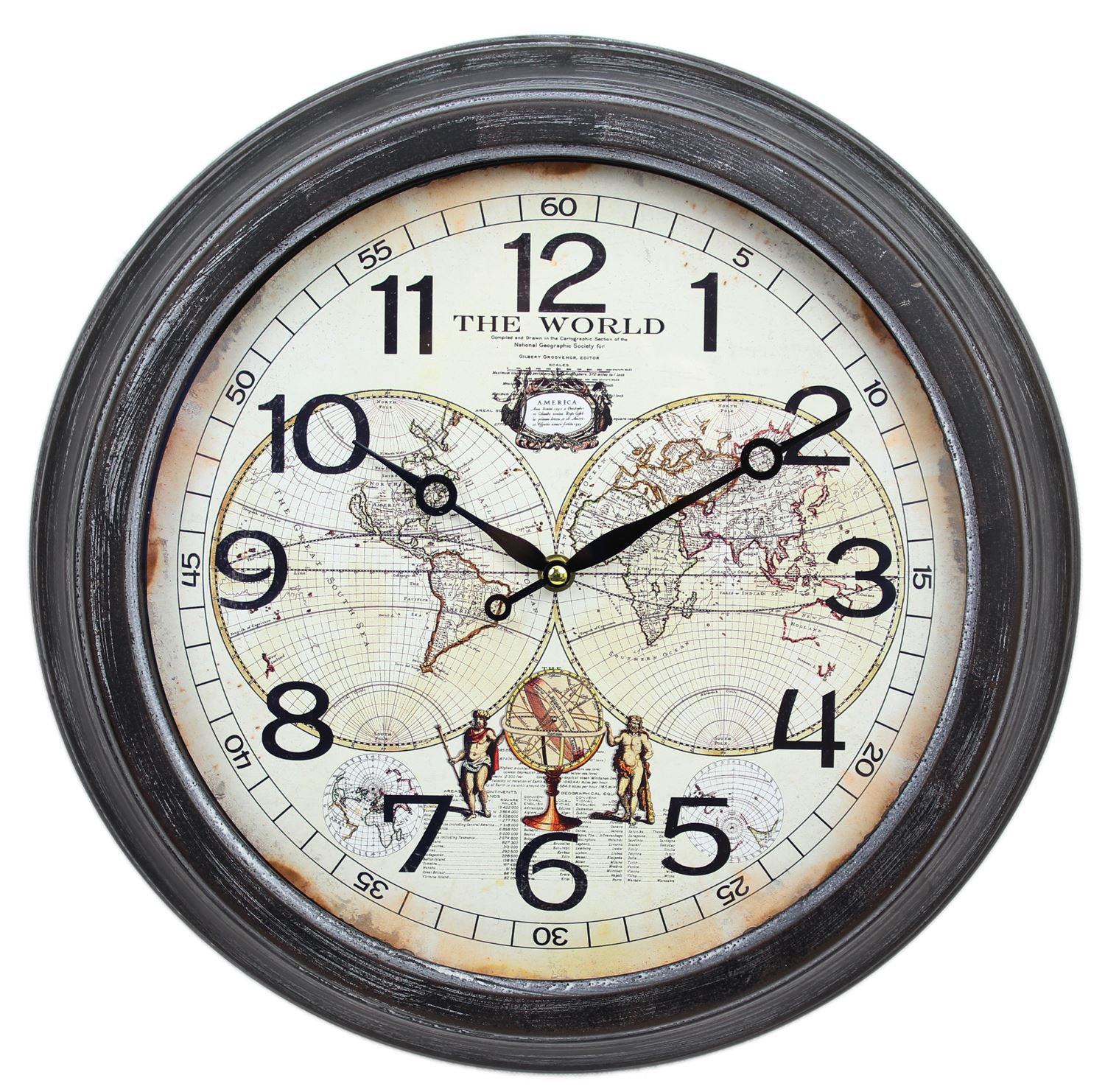 Hanging globe world map wall clock 41cm 5024418166238 ebay the map clock face is printed and is set within a distressed brown metal casing fabulous for anyone with a love of travelling or those that like something gumiabroncs Choice Image