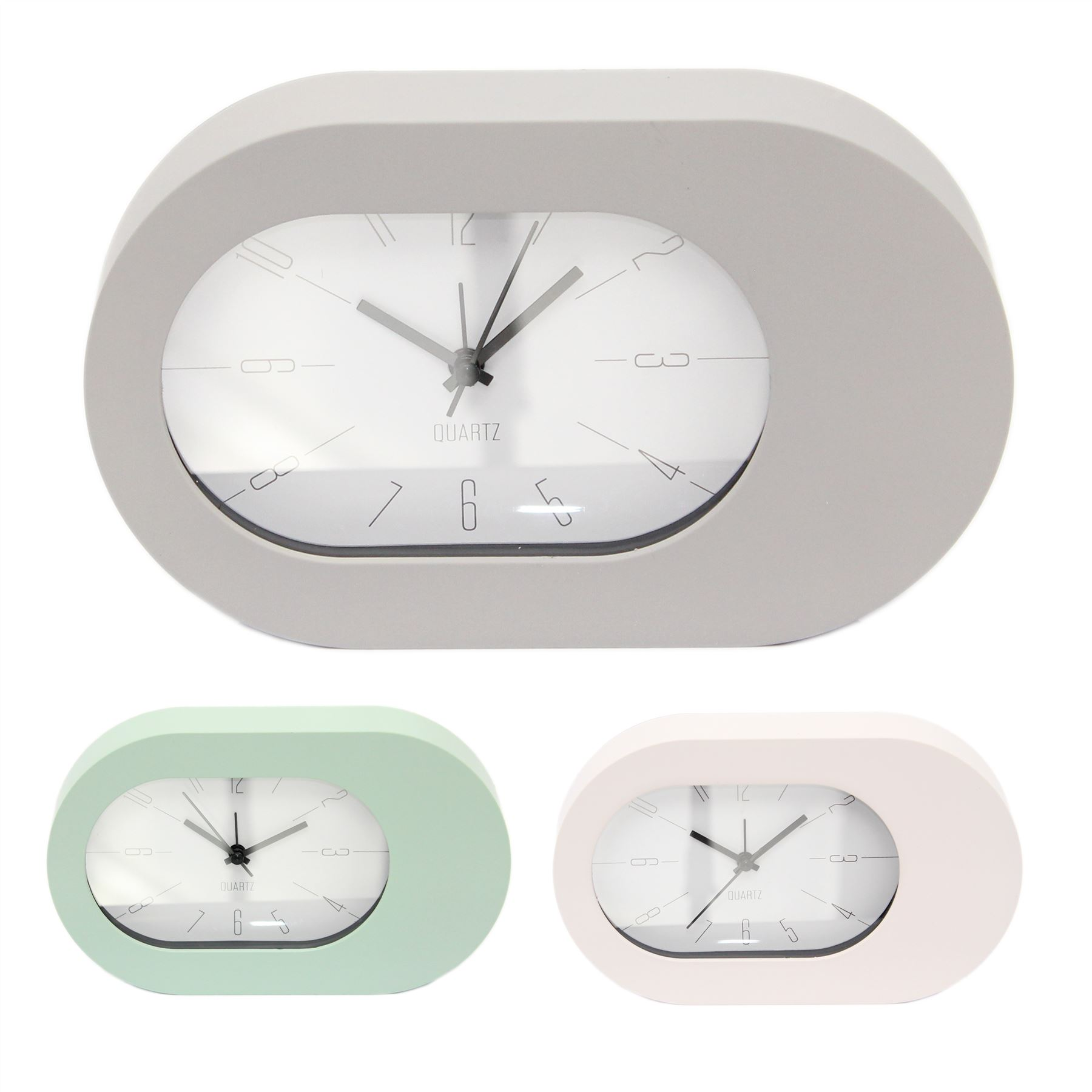 Oval Analogue Bedside Alarm Clock Modern Desk Clock Ebay