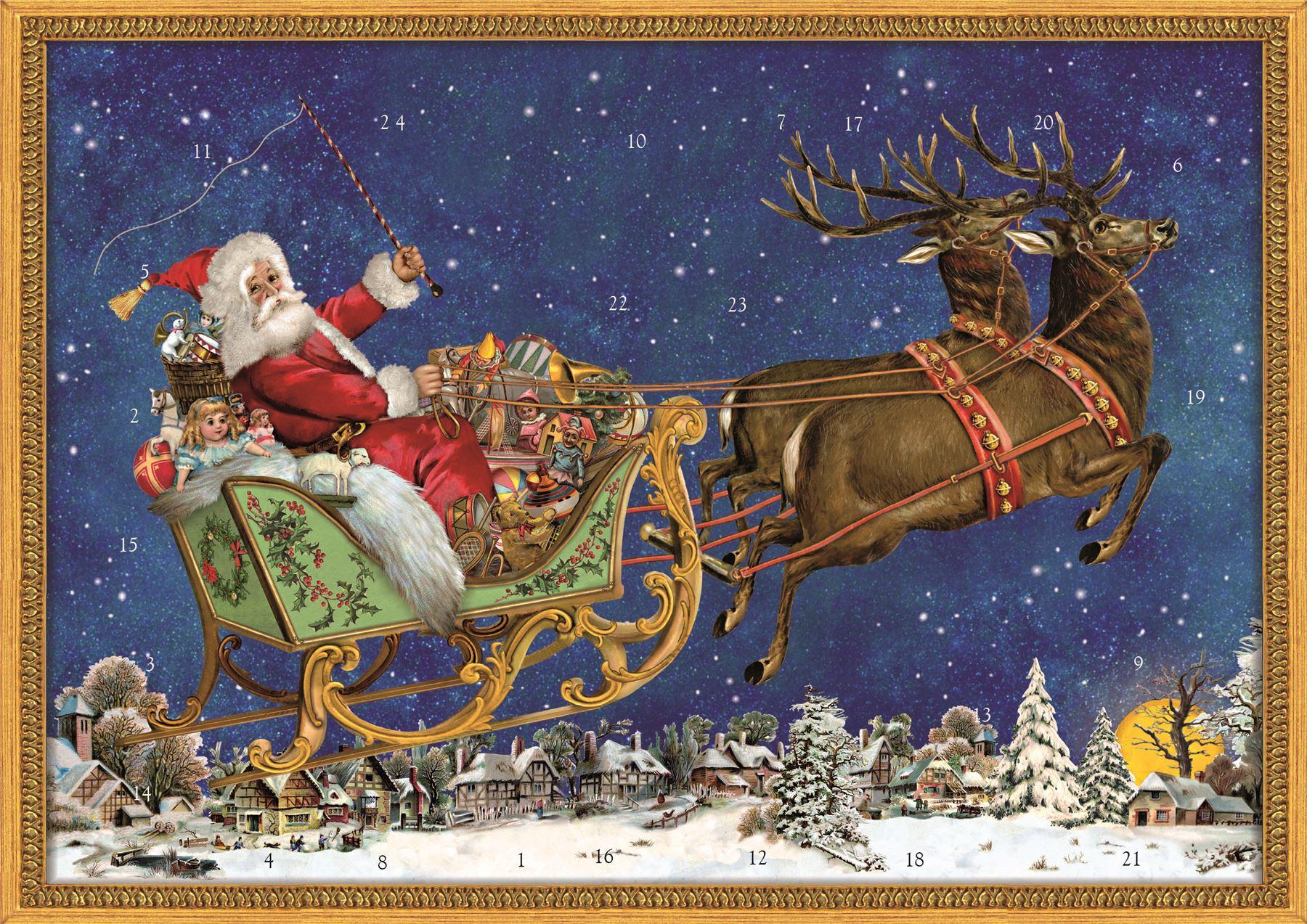 Nostalgic Christmas Sleigh A4 Traditional Card Advent Calendar ...