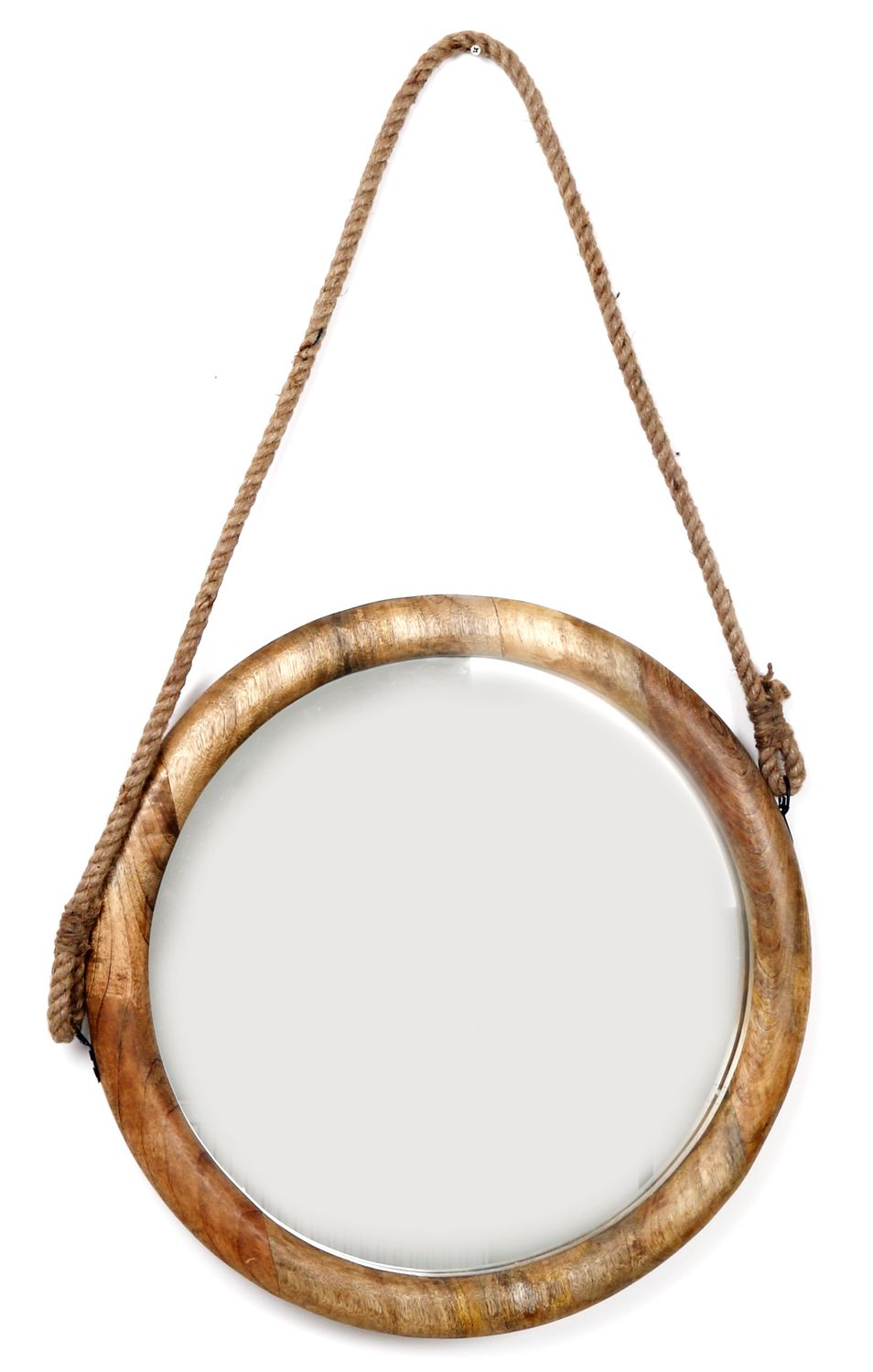 large hanging natural wood round mirror with rope 56cm ebay. Black Bedroom Furniture Sets. Home Design Ideas
