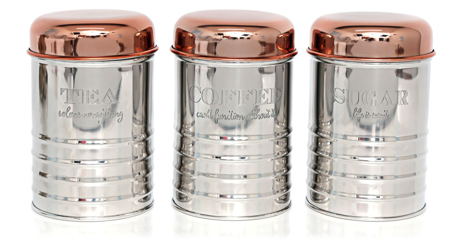 Details About Copper And Steel Effect Metal Tea Coffee Sugar Canister Storage Jar Canister