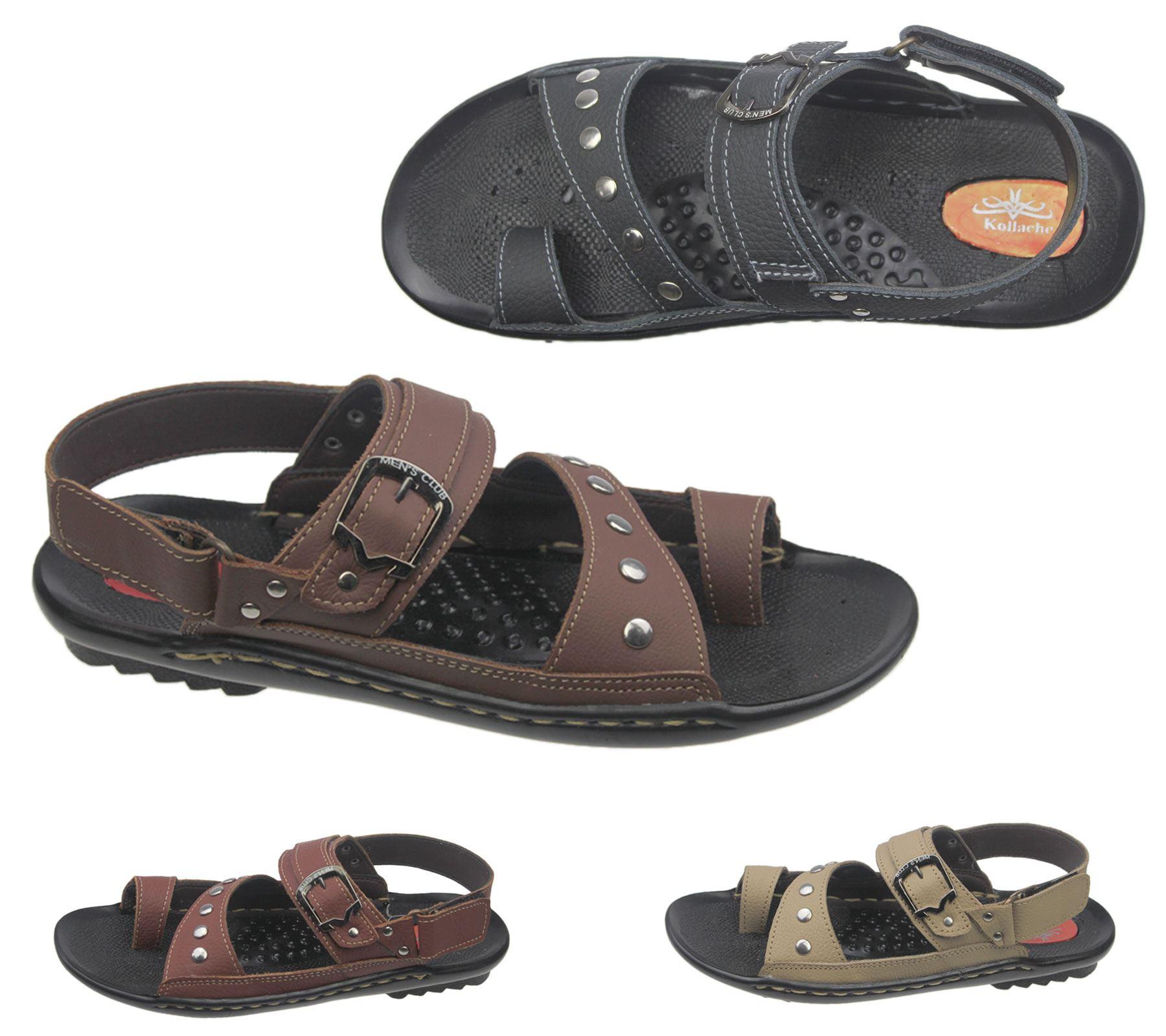 Mens Veclro Sandals Casual Beach Walking Beach Slipper Leather Fashion Flip Flop