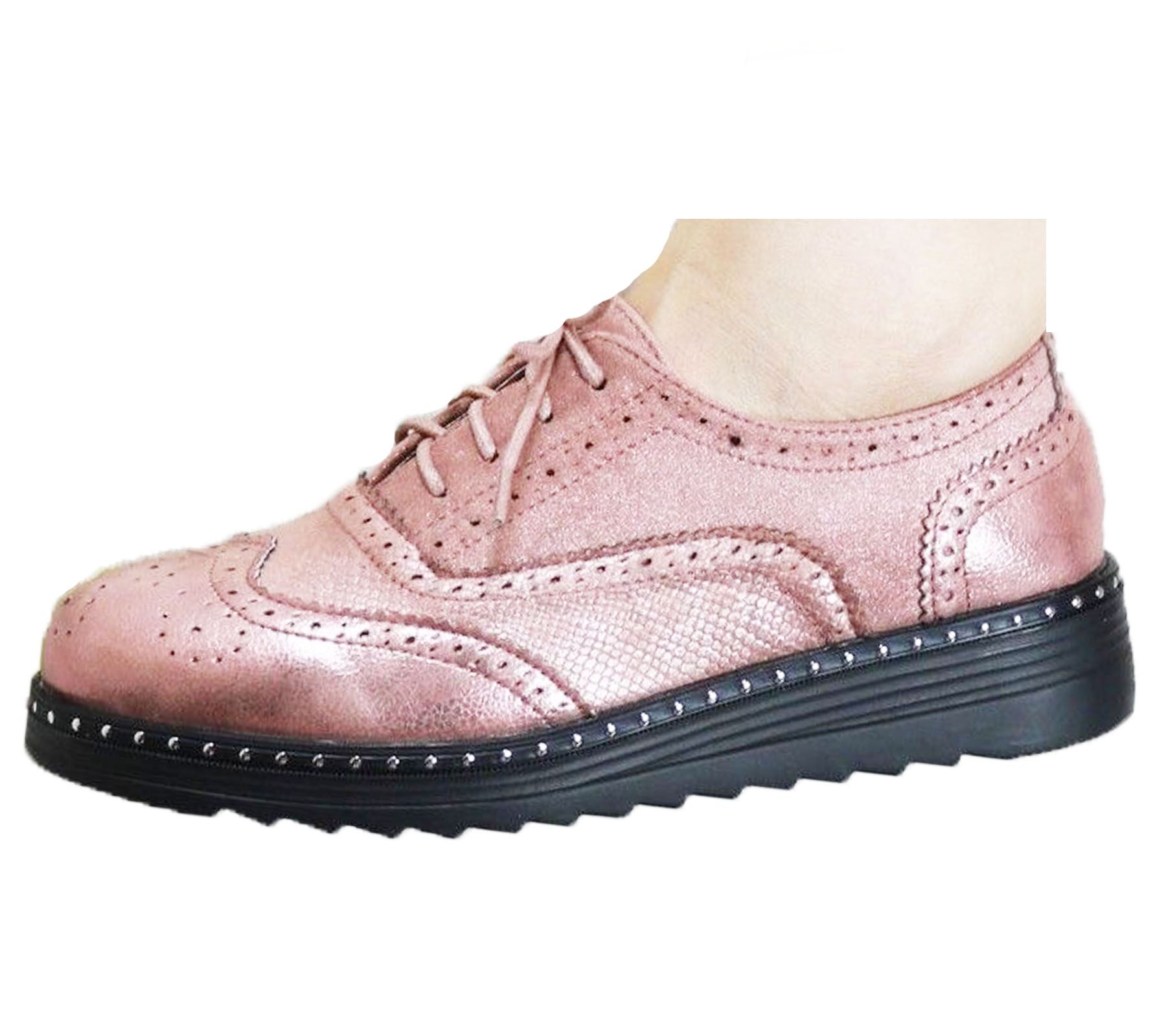 Ladies-Brogue-Lace-Up-Shoes-Womens-Oxford-Smart-Office-Loafers-Shoes miniatura 30
