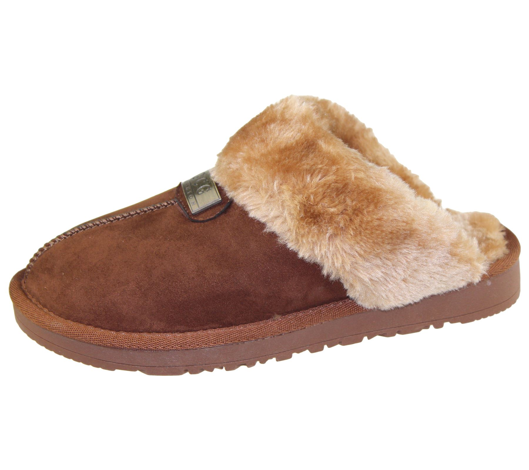 f1d53b1fdc Womens Fur Lined Slippers Ladies Mules Non Slip Rubber Sole Shoes | eBay