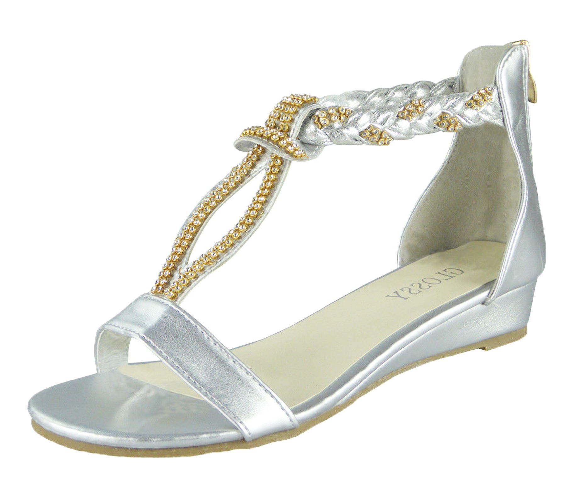 66b9e93baf94 Details about Ladies Sandals Low Wedge Diamante Summer Womens Wedding Fancy  Shoes