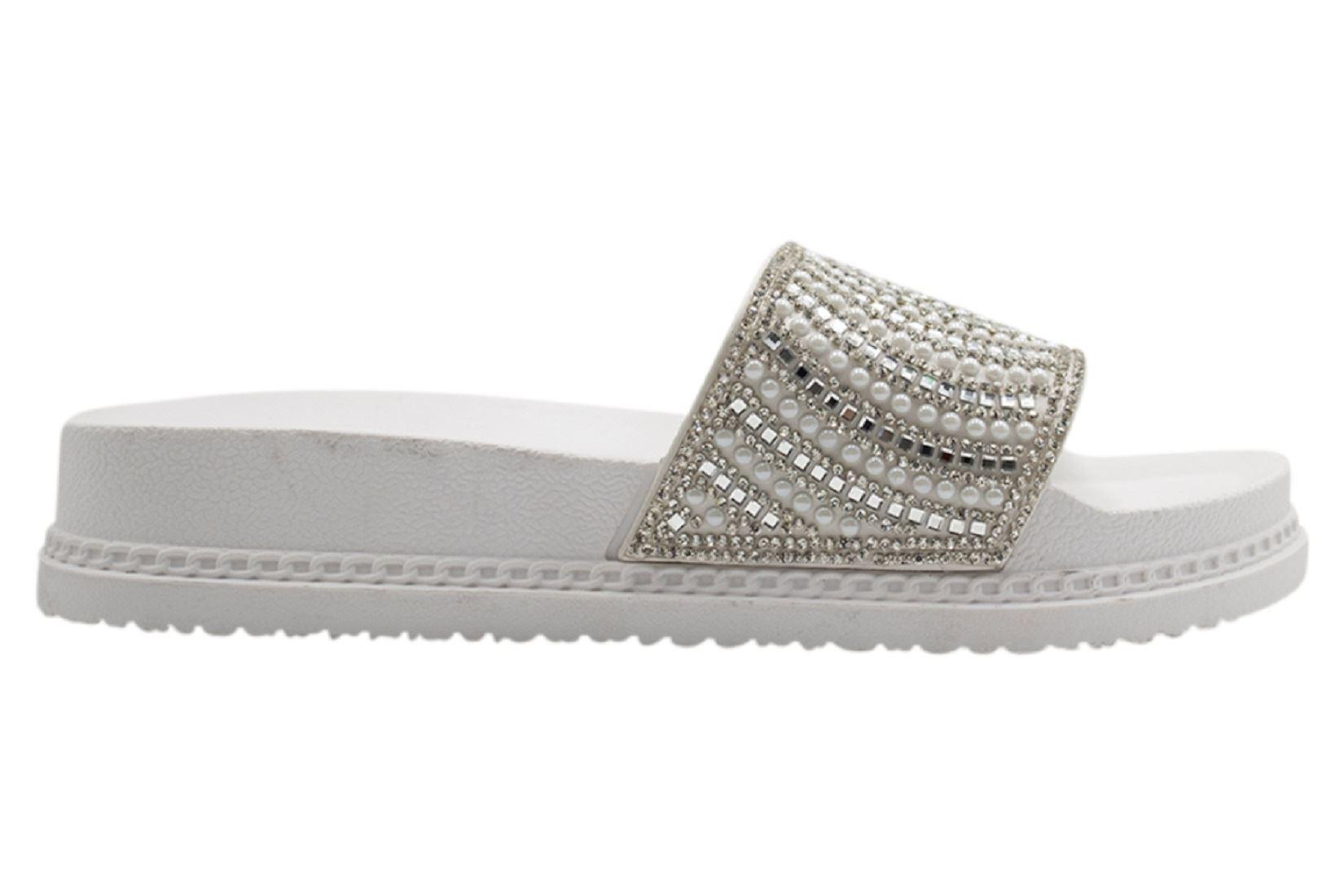 Womens-Sliders-Casual-Slippers-Mules-Ladies-Diamante-Flip-Flop-Sandals-Shoes thumbnail 101