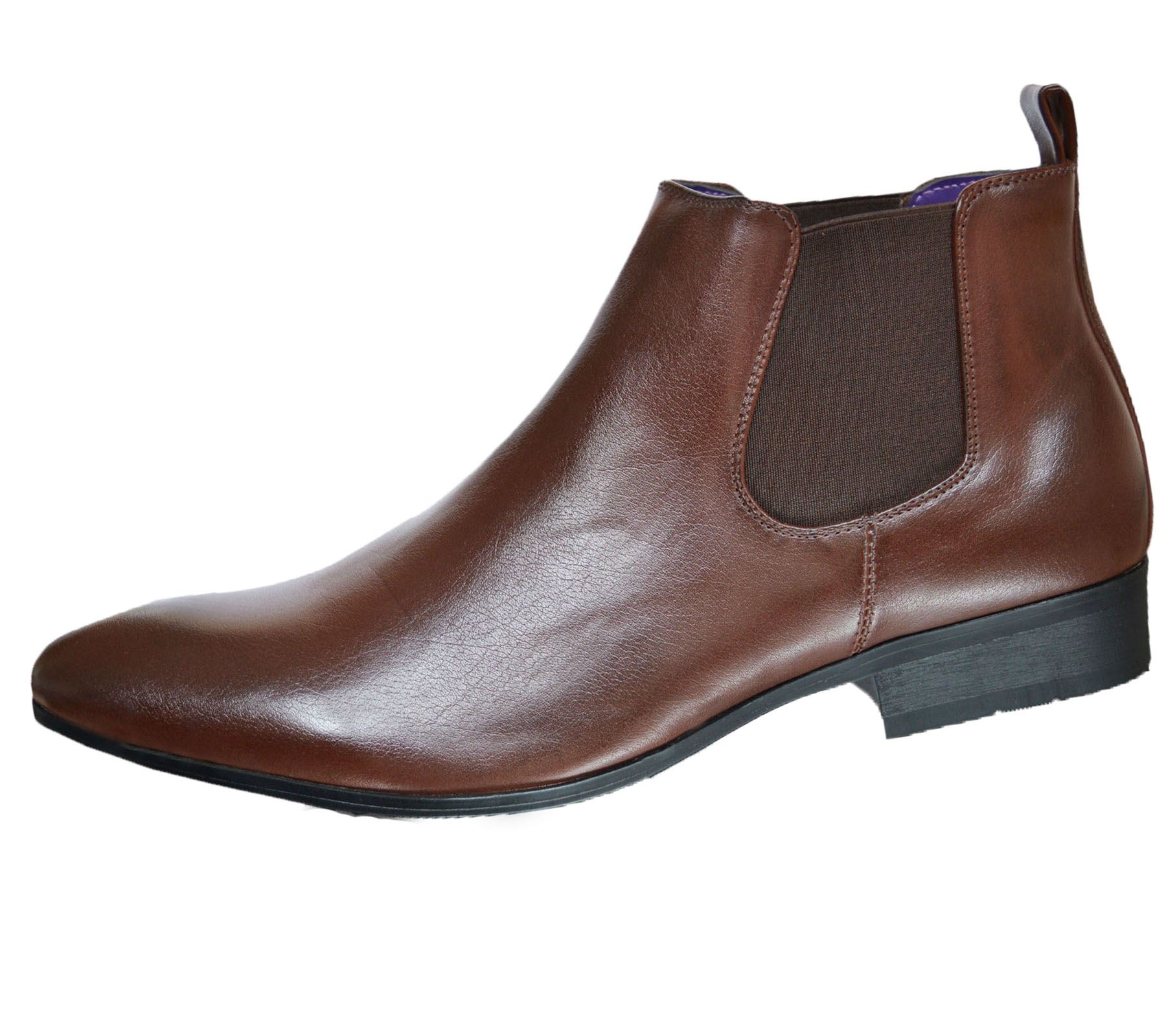 Mens-Chelsea-Boots-High-Top-Gusset-Synthetic-Leather-Shoes thumbnail 9